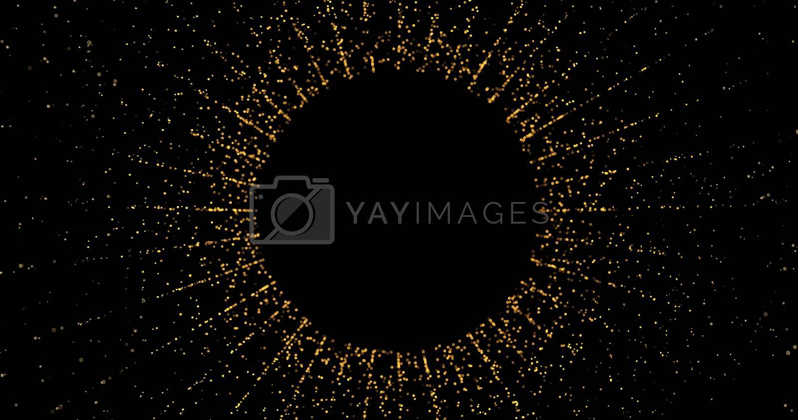 Abstract golden glitter on black background with bokeh. Luxury gold concept polygonal 3d rendered