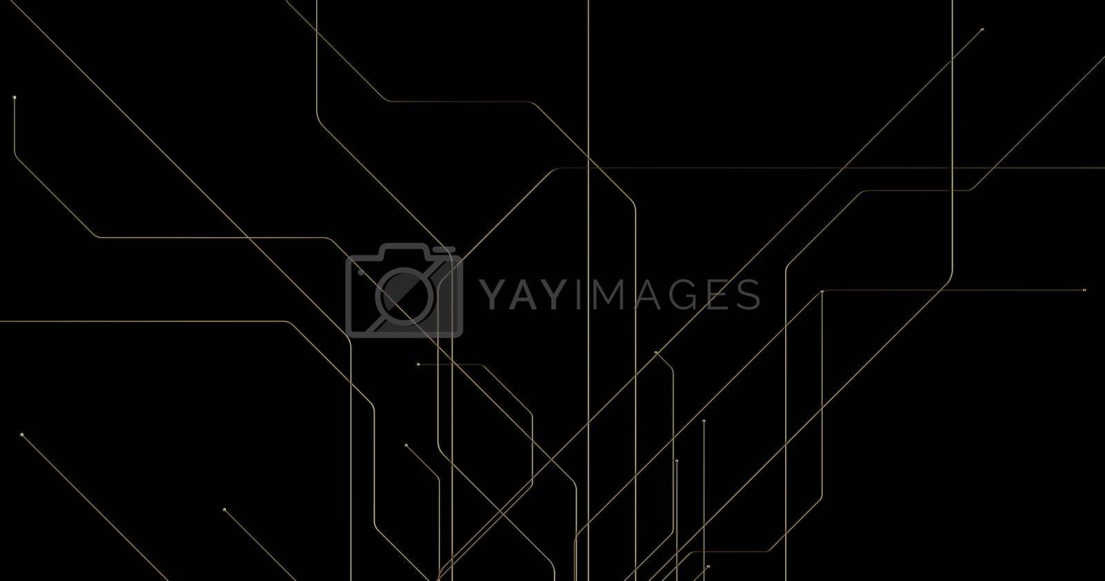 Abstract golden lines and spheres on black background with bokeh. Luxury gold concept polygonal 3d rendered
