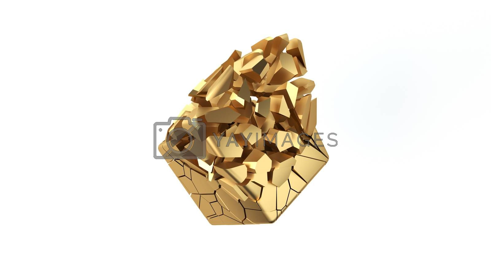 Abstract scattering golden shape. Gold cube breaks down to small pieces. 3D render illustration