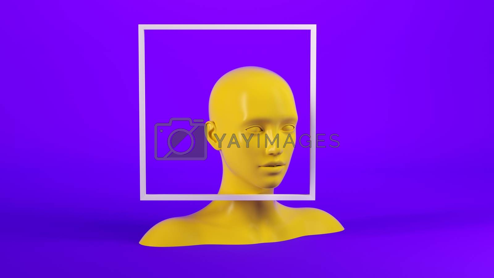 Abstract mannequin female head with white frame on background. Fashion woman. Yellow human face. 3d render