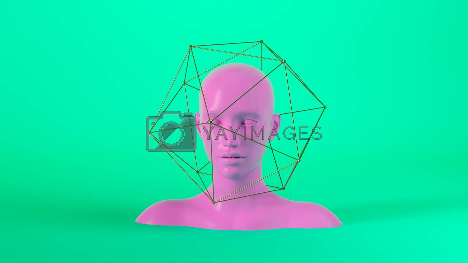 Abstract mannequin female head with golden geometric shapes on background. Fashion woman. Pink human face. 3d render