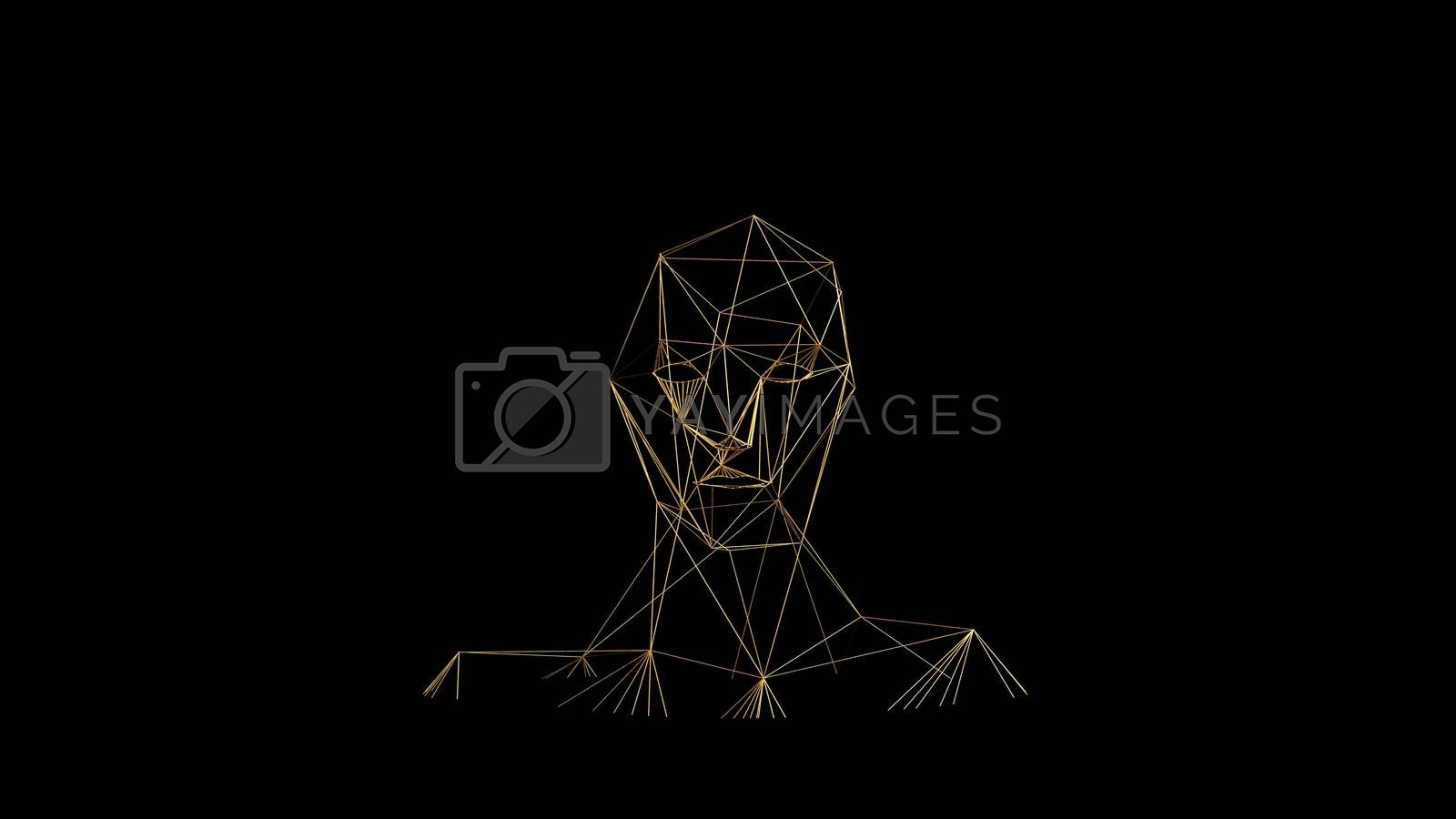 Gold lines on black background. Abstract human face head. Golden polygonal luxury network shine glitter design. 3D render