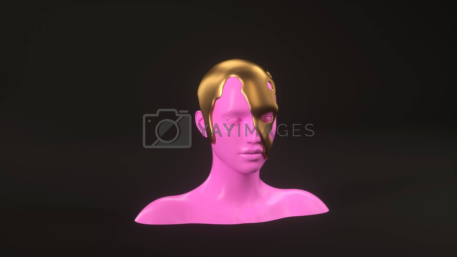 Abstract mannequin female head with golden liquid on background. Fashion woman. Pink human face. 3d render