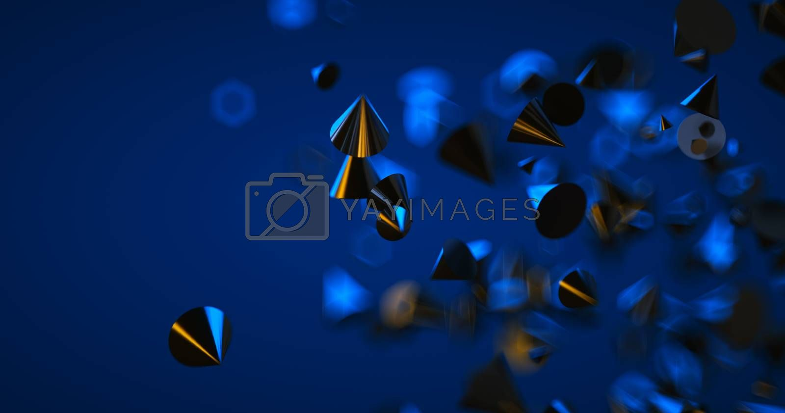 Abstract black background with geometric shapes, depth of field and bokeh. Neon futuristic backdrop. 3D render