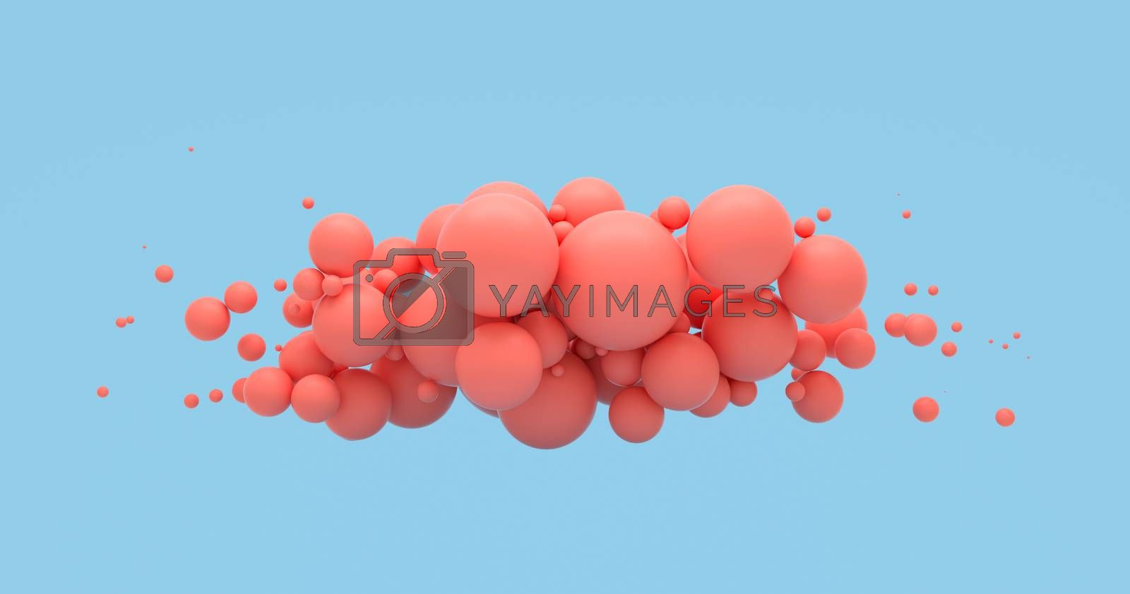 Abstract background with coral living spheres on blue. Fashion sale banner design. 3D render