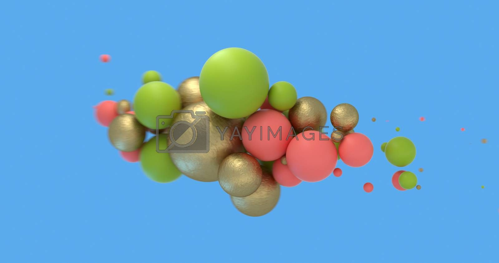 Abstract background with Living Coral, golden and green spheres on blue. Fashion sale banner design. 3D render
