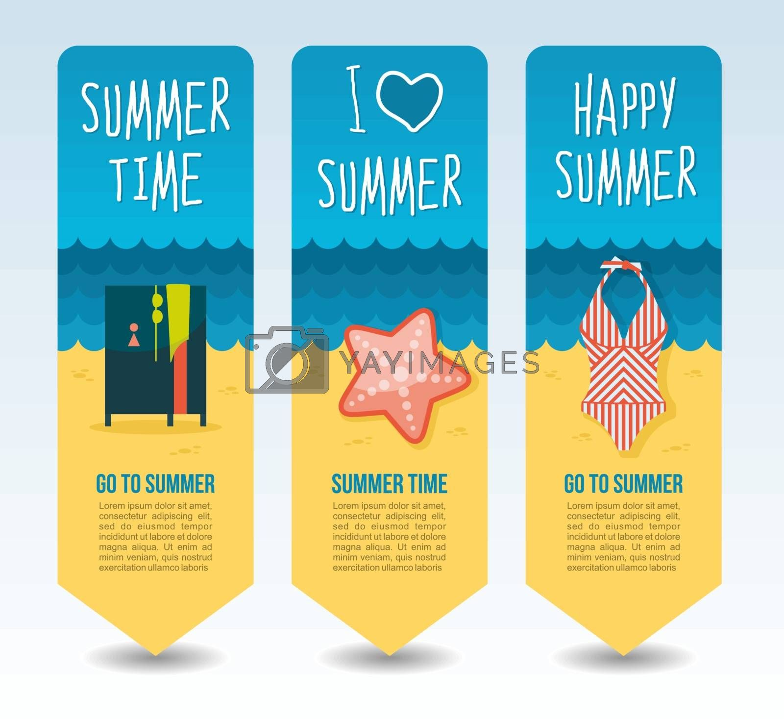 Beach swimsuit, cloakroom and starfish. Summer Travel and vacation vector banners. Summertime. Holiday
