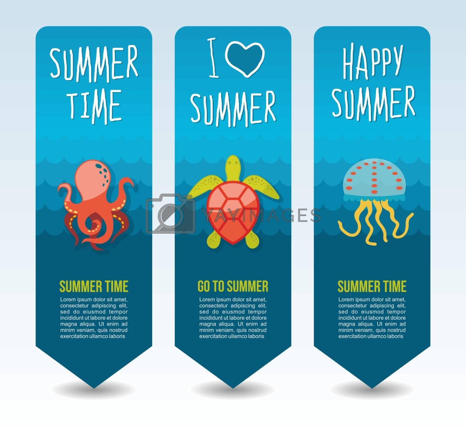 Turtle, octopus and jellyfish. Summer Travel and vacation vector banners. Summertime. Holiday