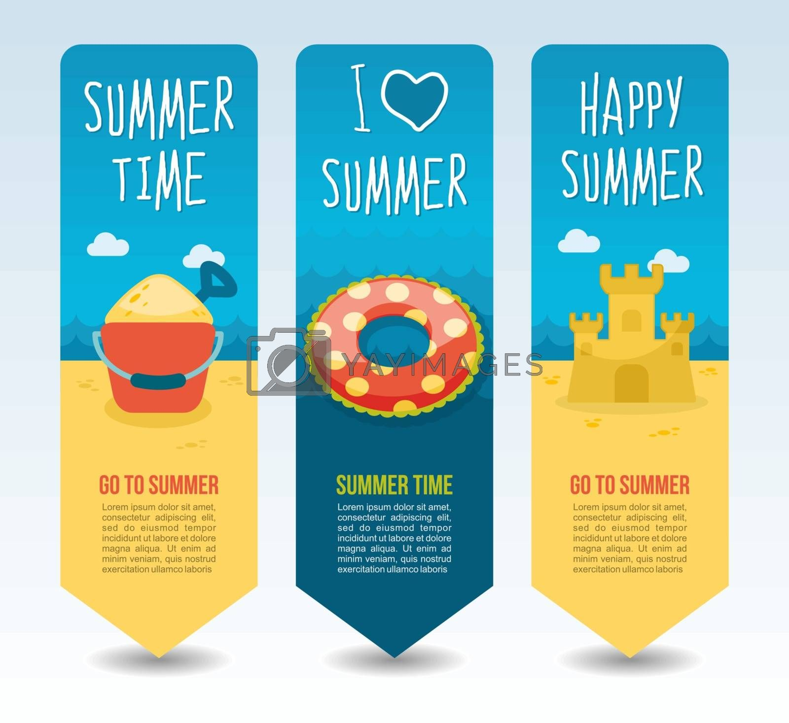Beach sandcastle, swimming circle, shovel and bucket. Summer Travel and vacation vector banners. Summertime. Holiday