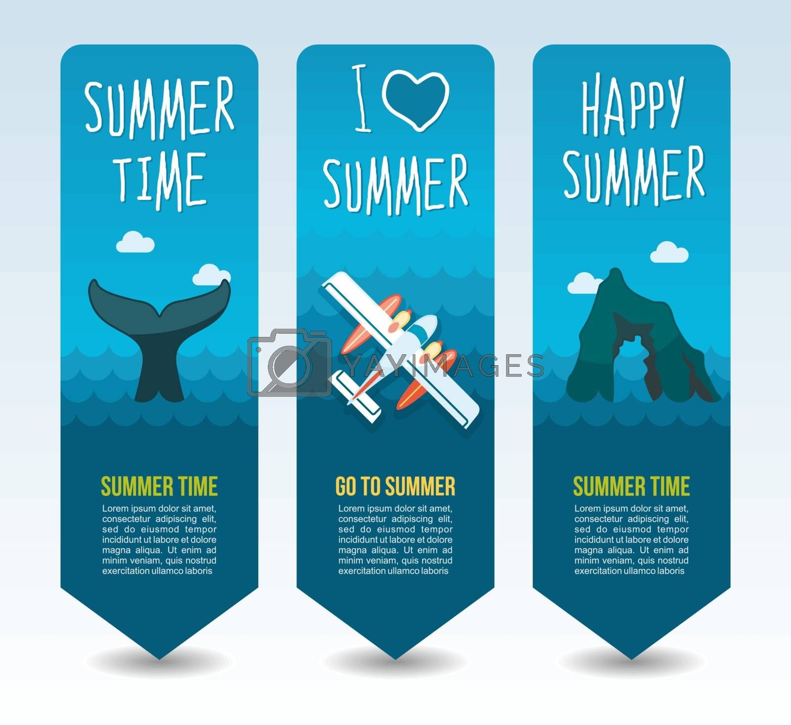 Hydroplane, whale tail and rock island. Summer Travel and vacation vector banners. Summertime. Holiday
