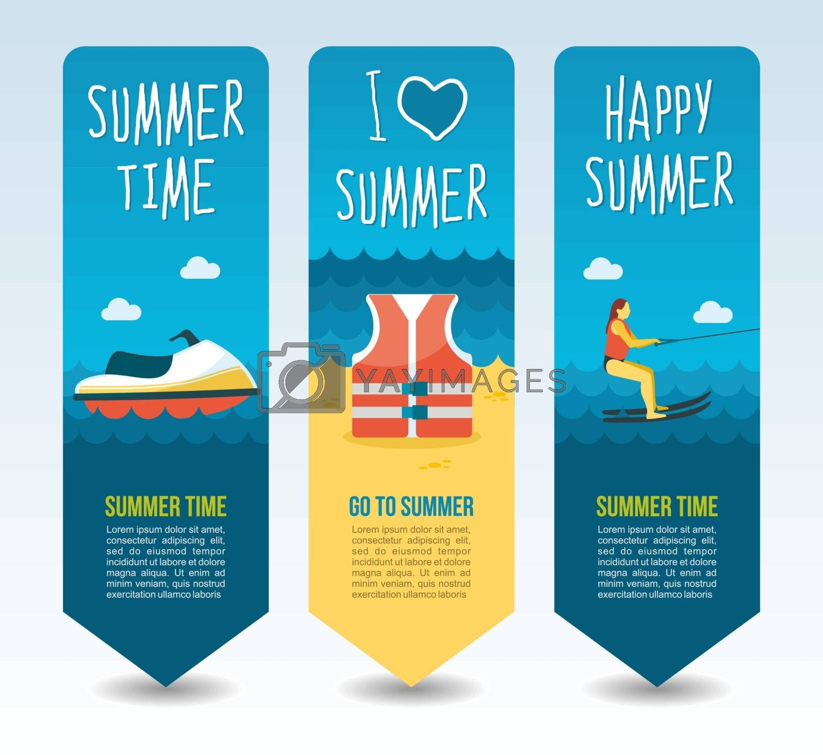 Life jacket, scooter boat and water skiing. Summer Travel and vacation vector banners. Summertime. Holiday