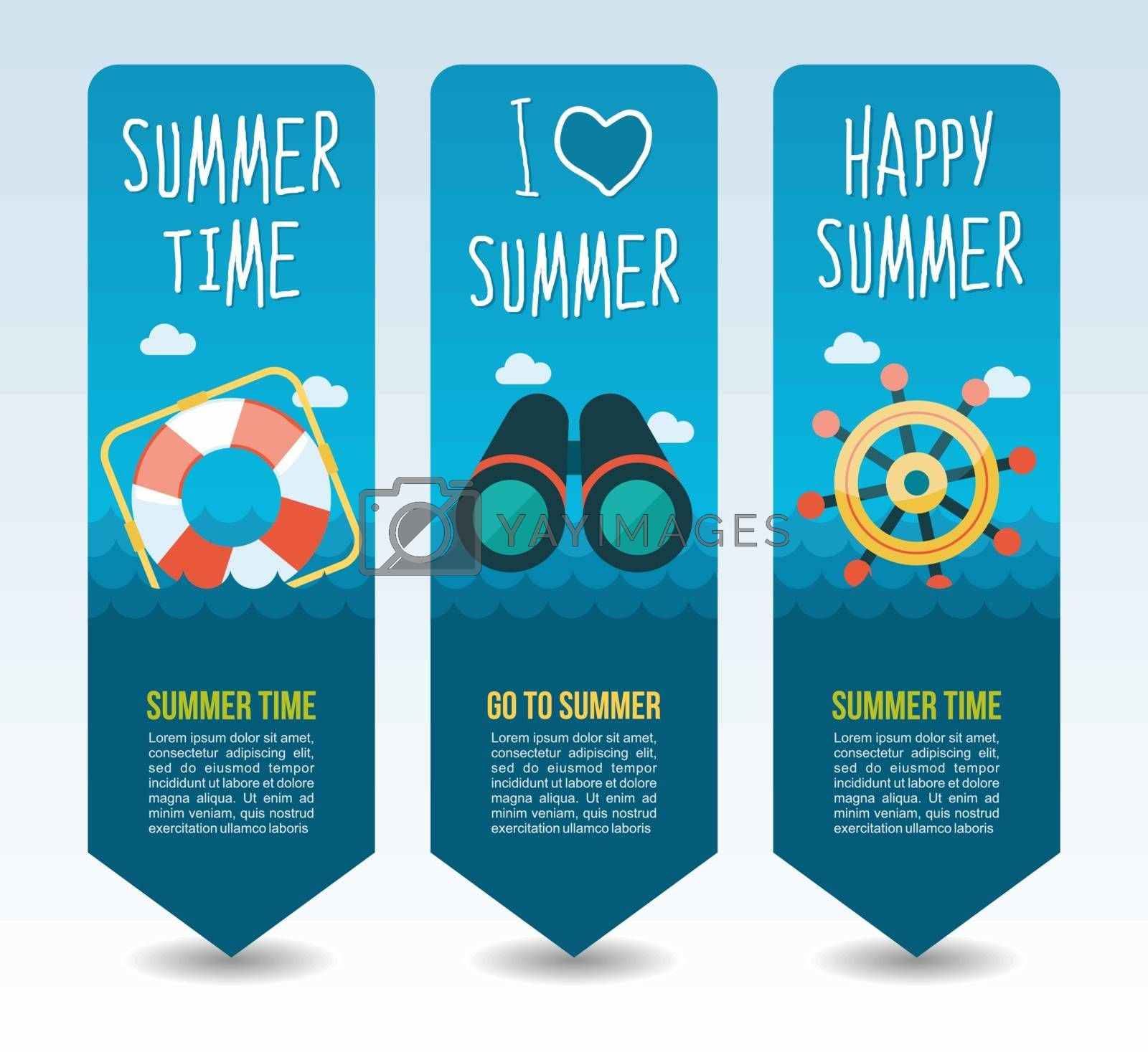 Lifebuoy, binocular and helm yacht. Summer Travel and vacation vector banners. Summertime. Holiday