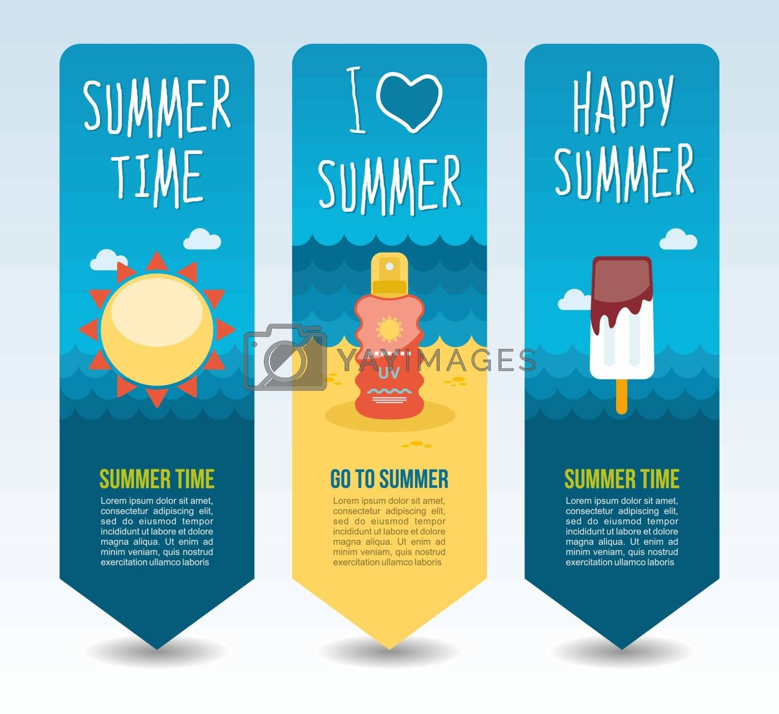 Sun, ice cream and sunscreen. Summer Travel and vacation vector banners. Summertime. Holiday