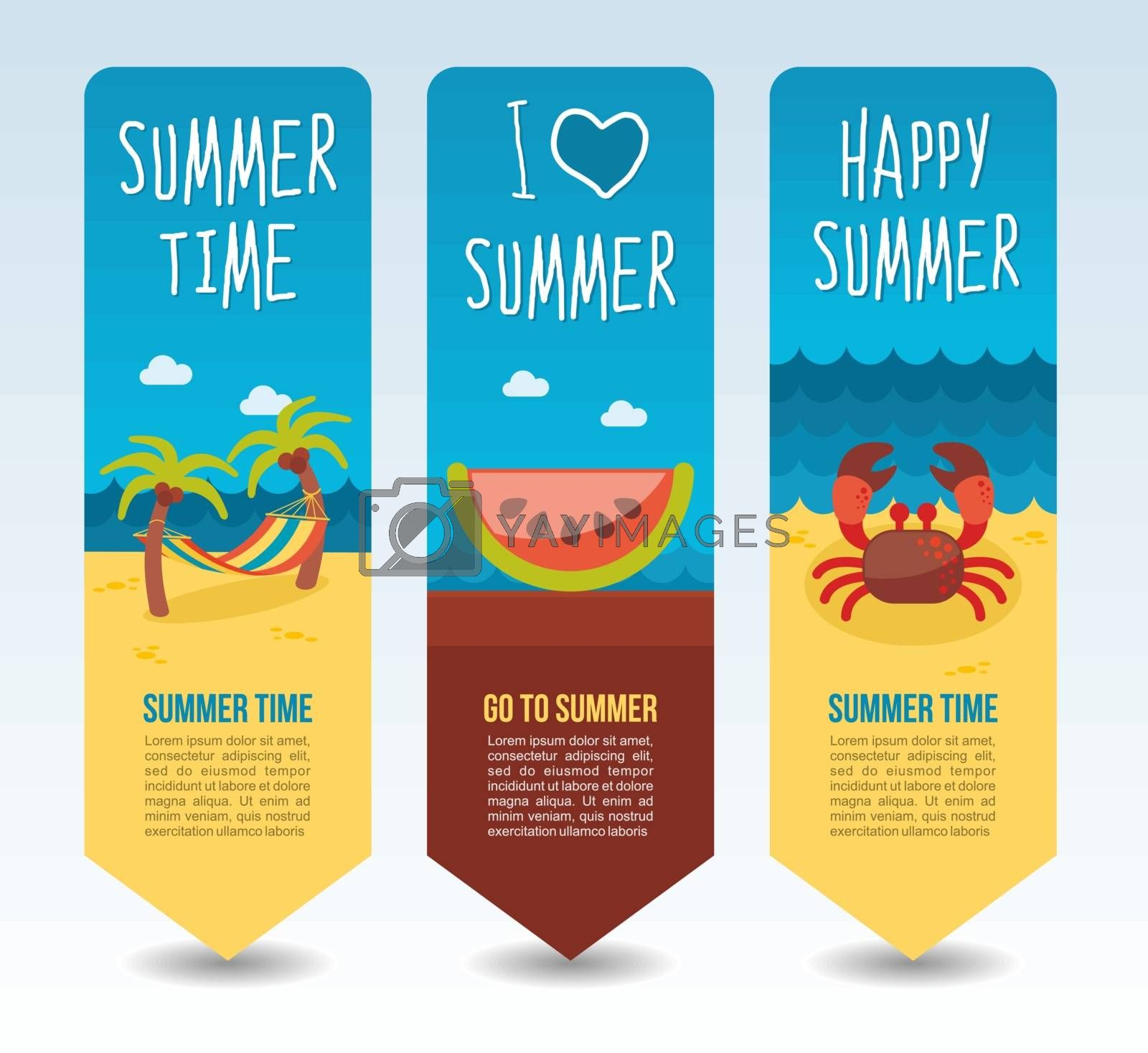 Beach tropical hammock palm tree, slice watermelon and crab. Summer Travel and vacation vector banners. Summertime. Holiday