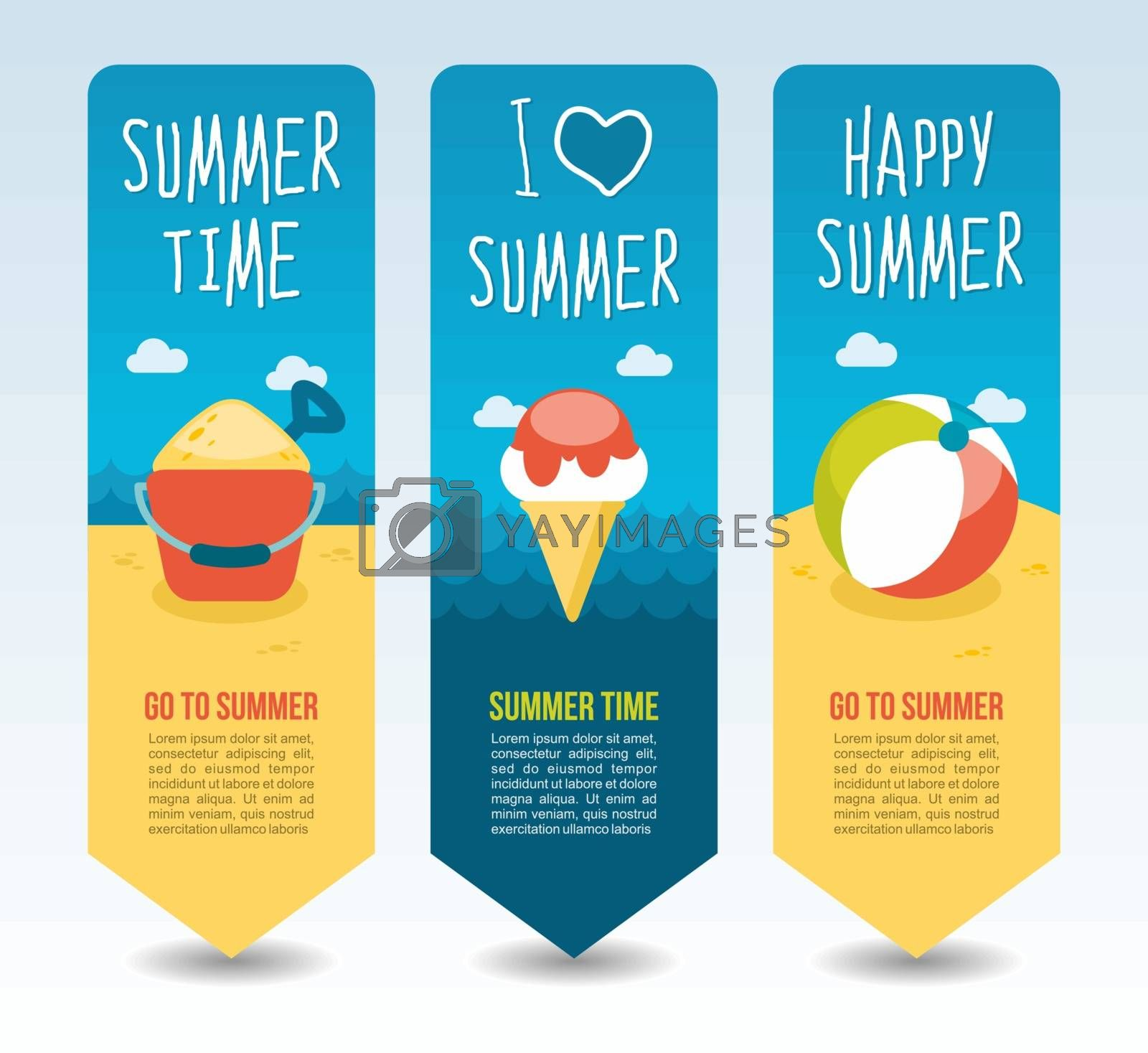 Beach ball, ice cream, bucket and shovel. Summer Travel and vacation vector banners. Summertime. Holiday