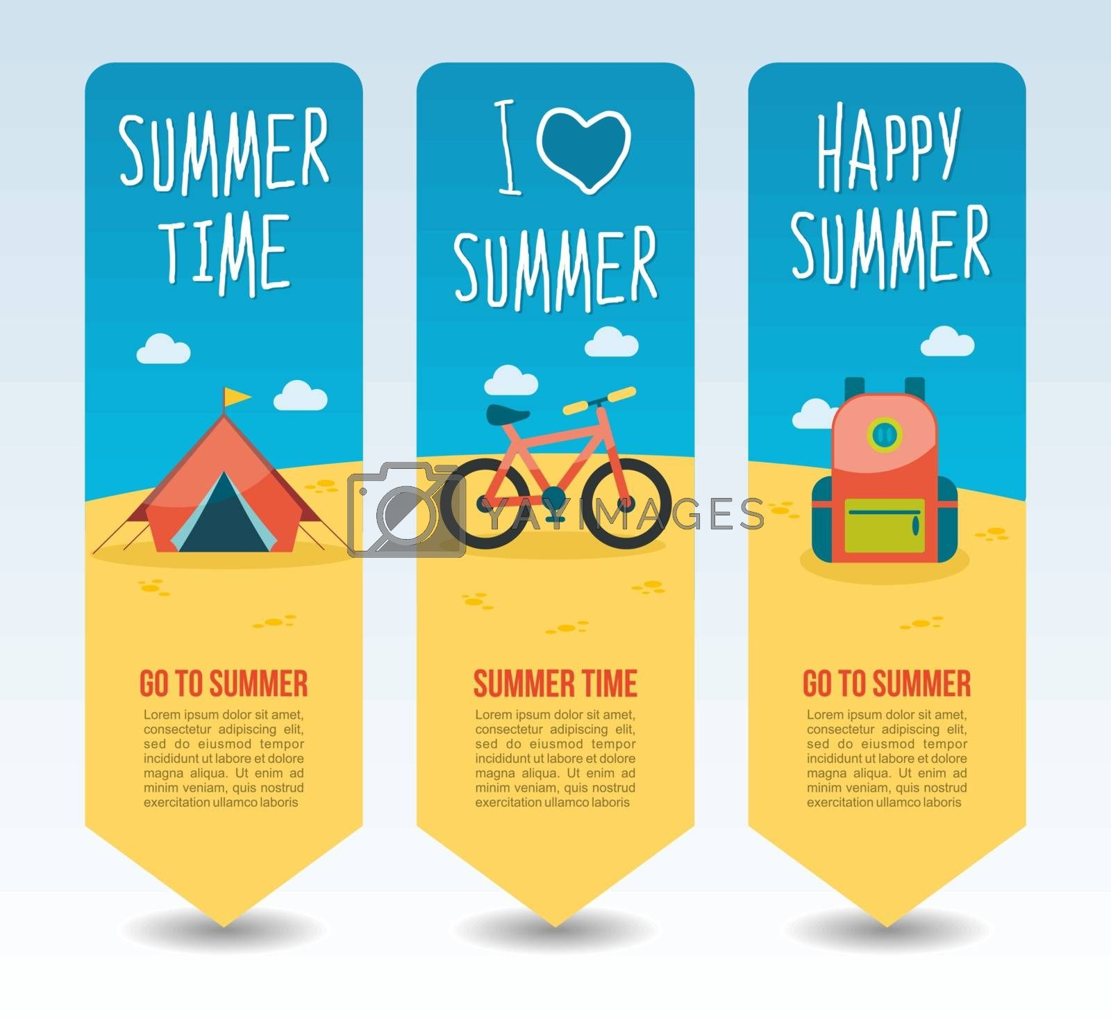 Camp tent, bicycle and tourist backpack. Summer Travel and vacation vector banners. Summertime. Holiday