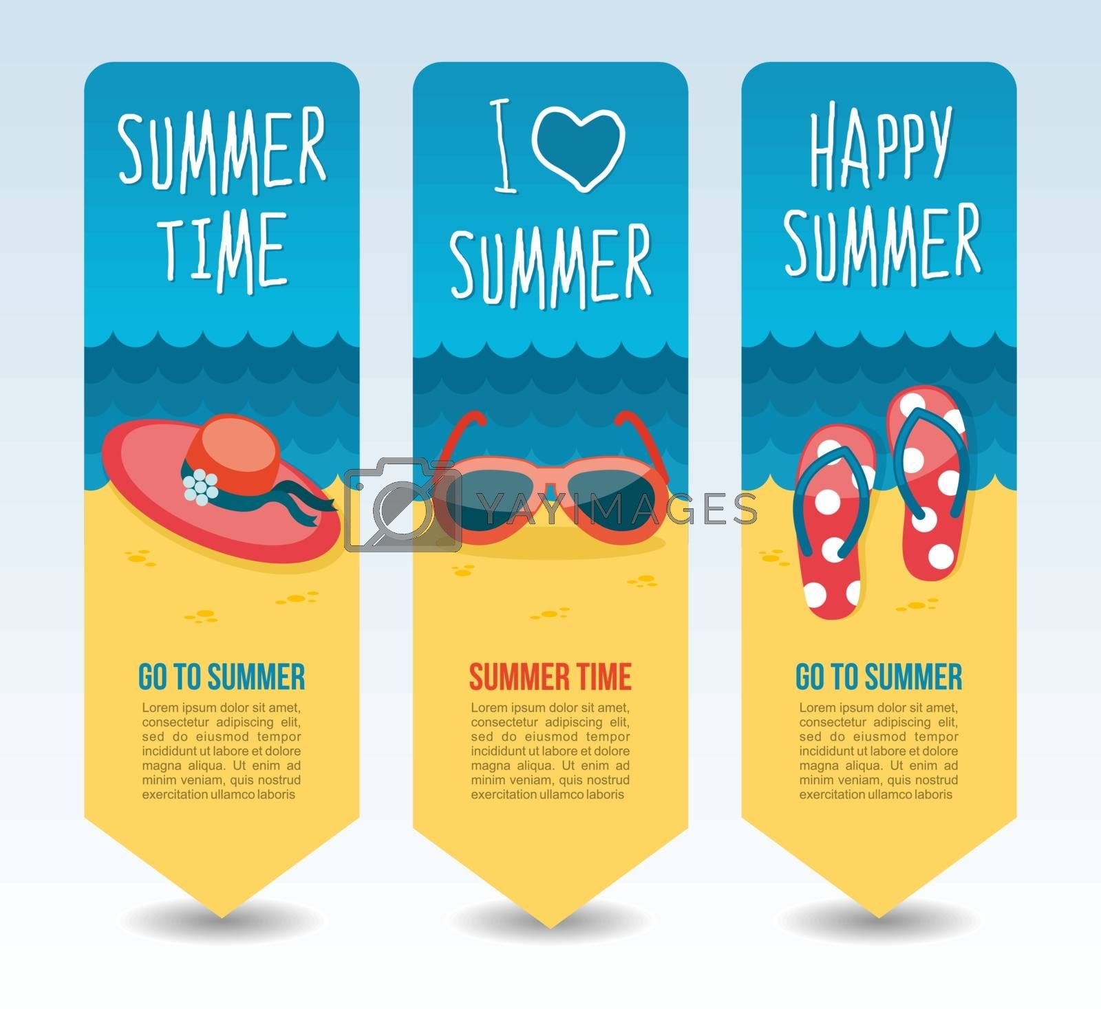 Beach, flip flops, hat and sunglasses. Summer Travel and vacation vector banners. Summertime. Holiday