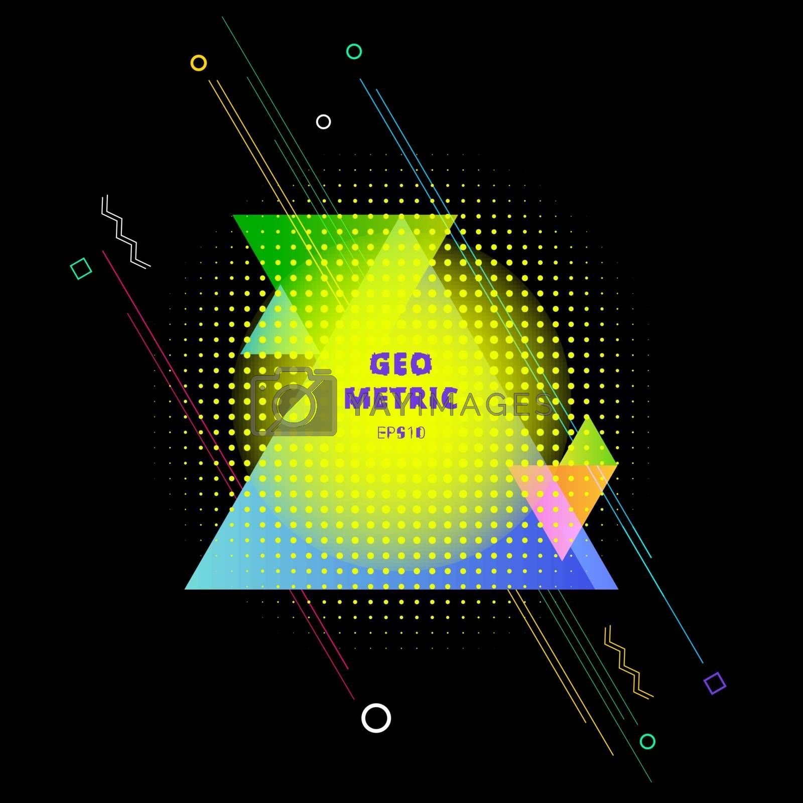 Abstract colorful geometric triangles composition with element halftone on black background. Vector illustration