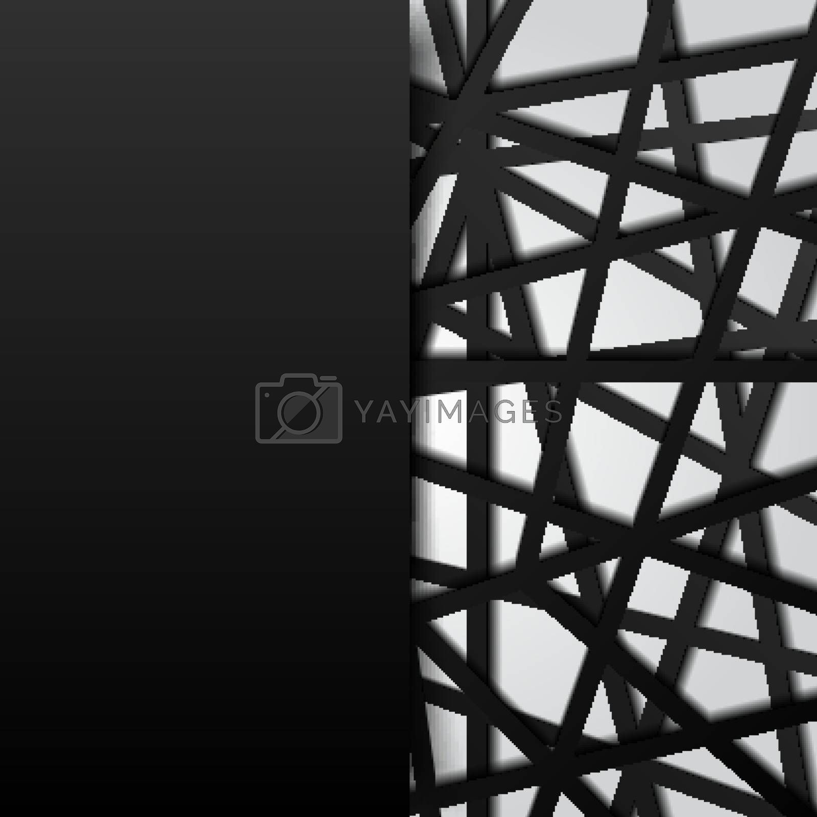 Abstract template black lines futuristic overlapping white background. Digital connection. Vector illustration