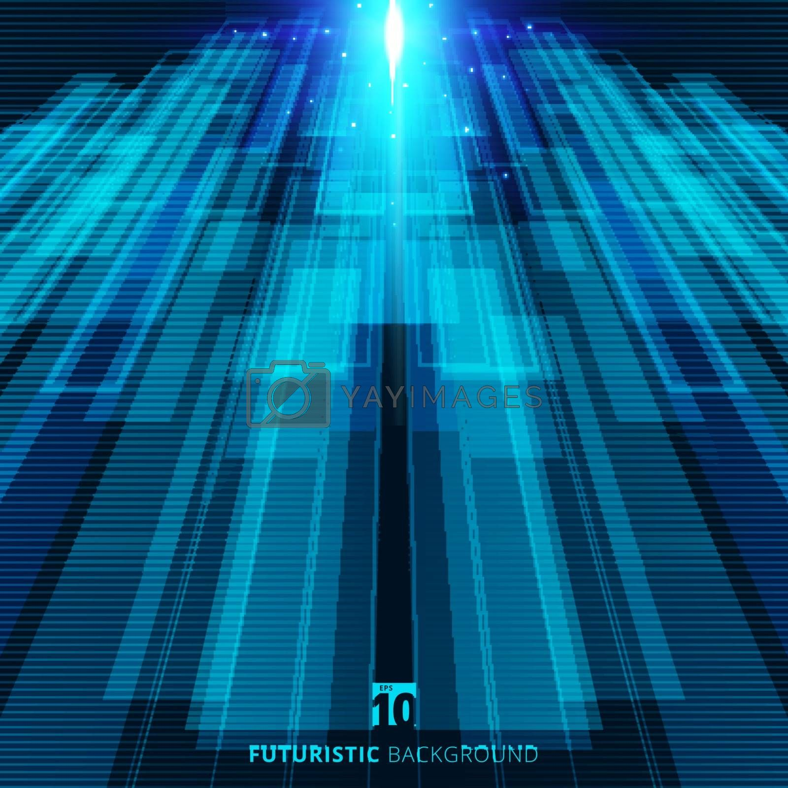 Abstract blue virtual technology concept futuristic digital background with space for your text. Vector illustration