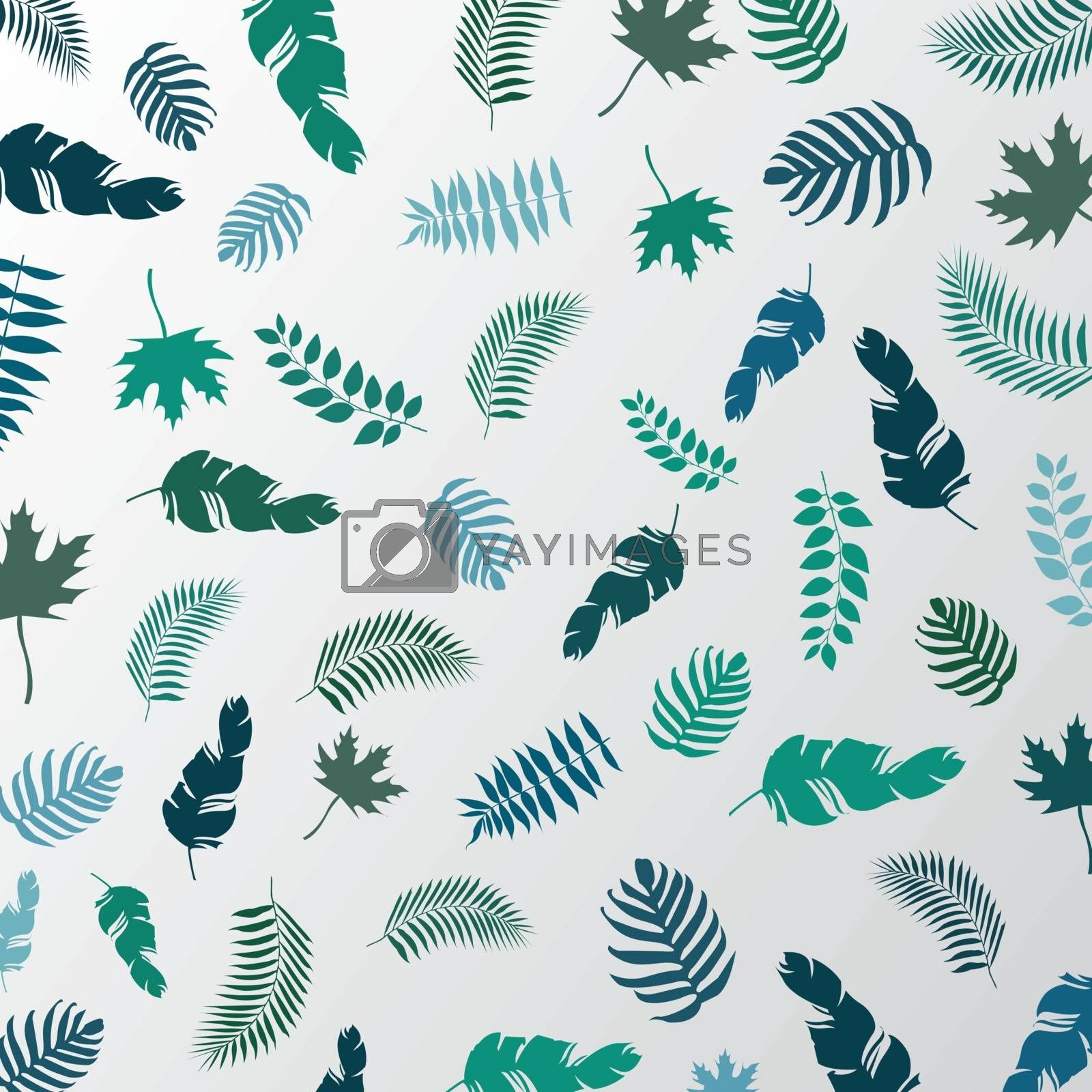 Summer tropical palm leaves green color pattern on a white background. Vector illustration