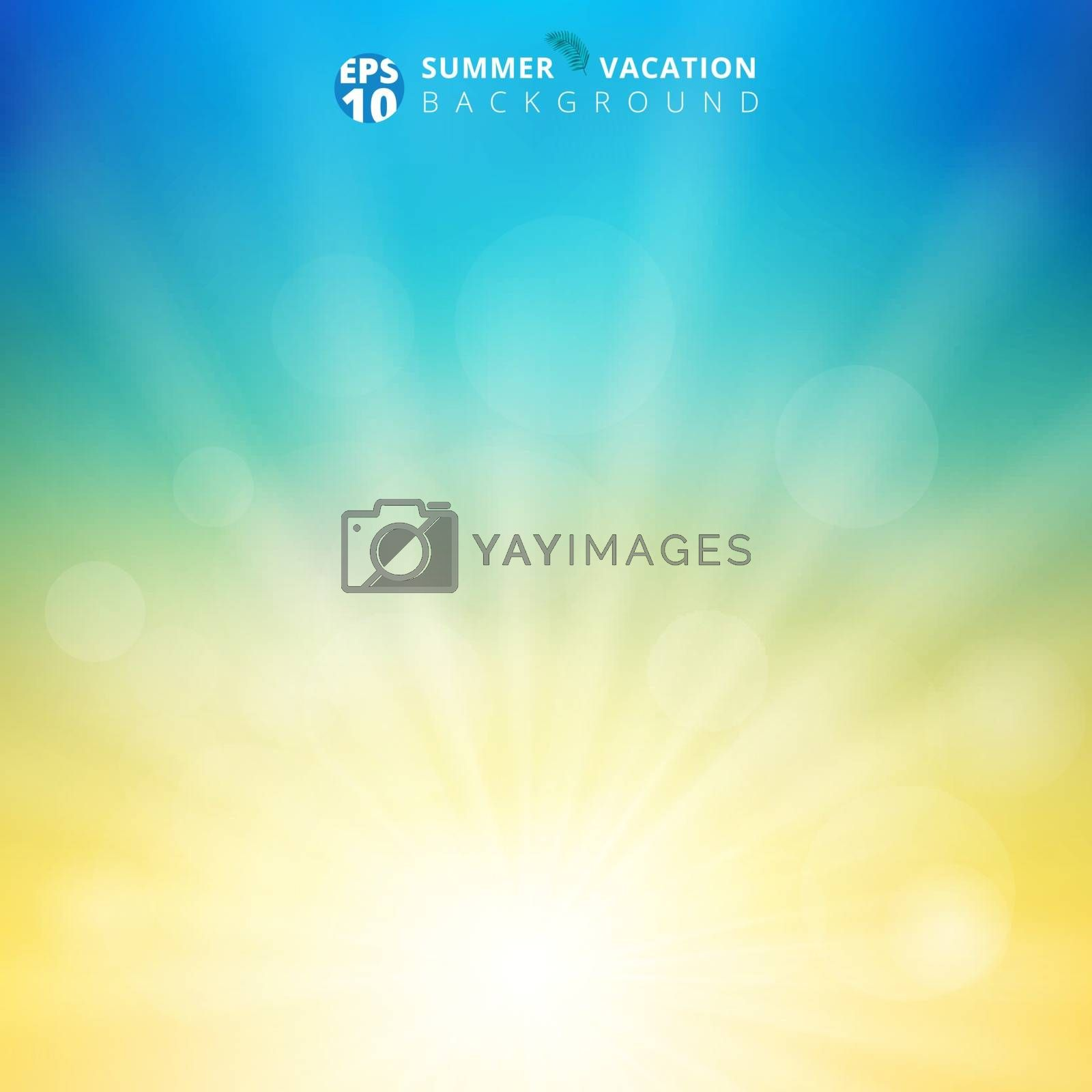 Summer season sunlight with bokeh in the sky blurred background. Nature blur background with radial sunray. Natural ecology concept for your graphic design. Vector illustration