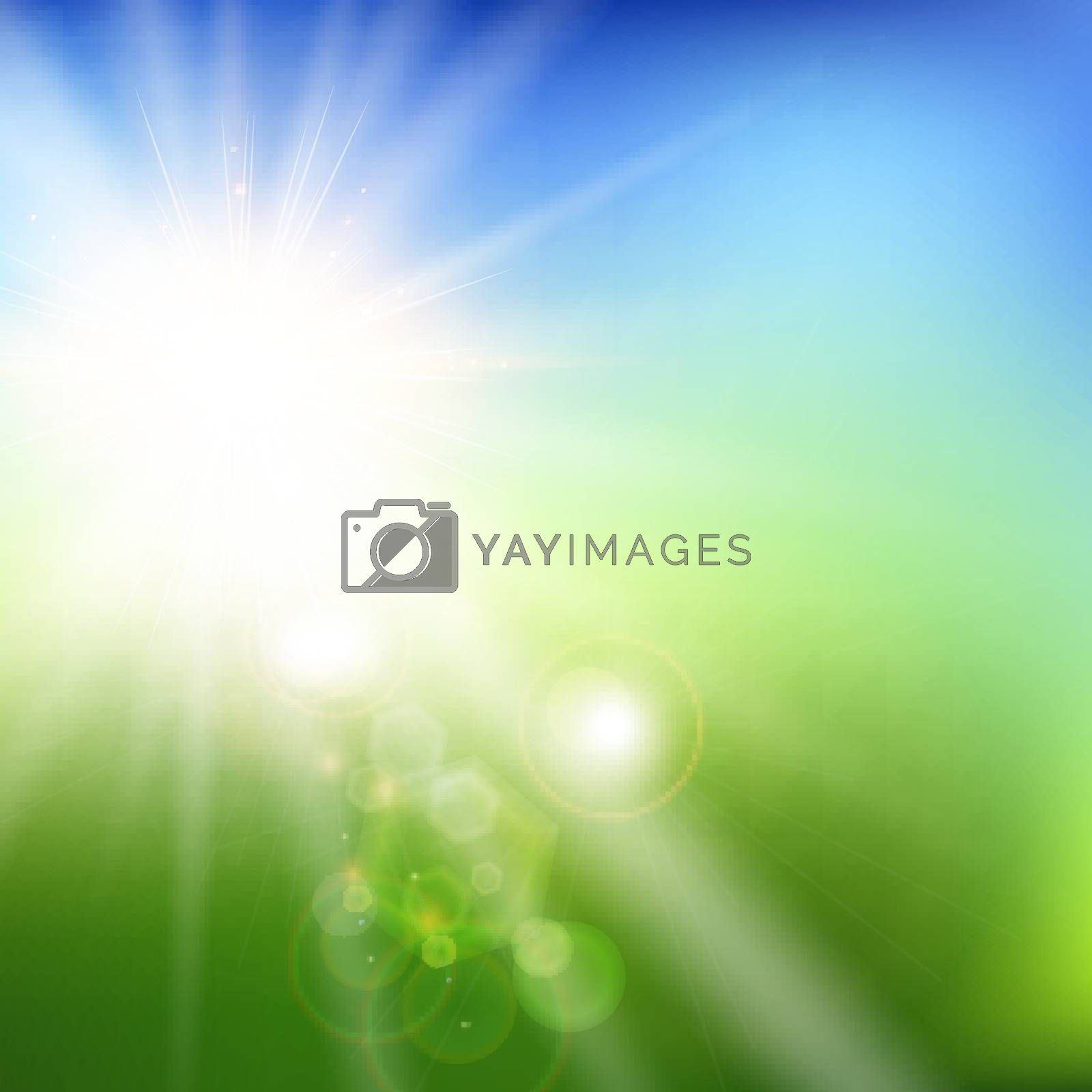 Summer blurred green field and blue sky landscape background with sunlight. Vector illustration