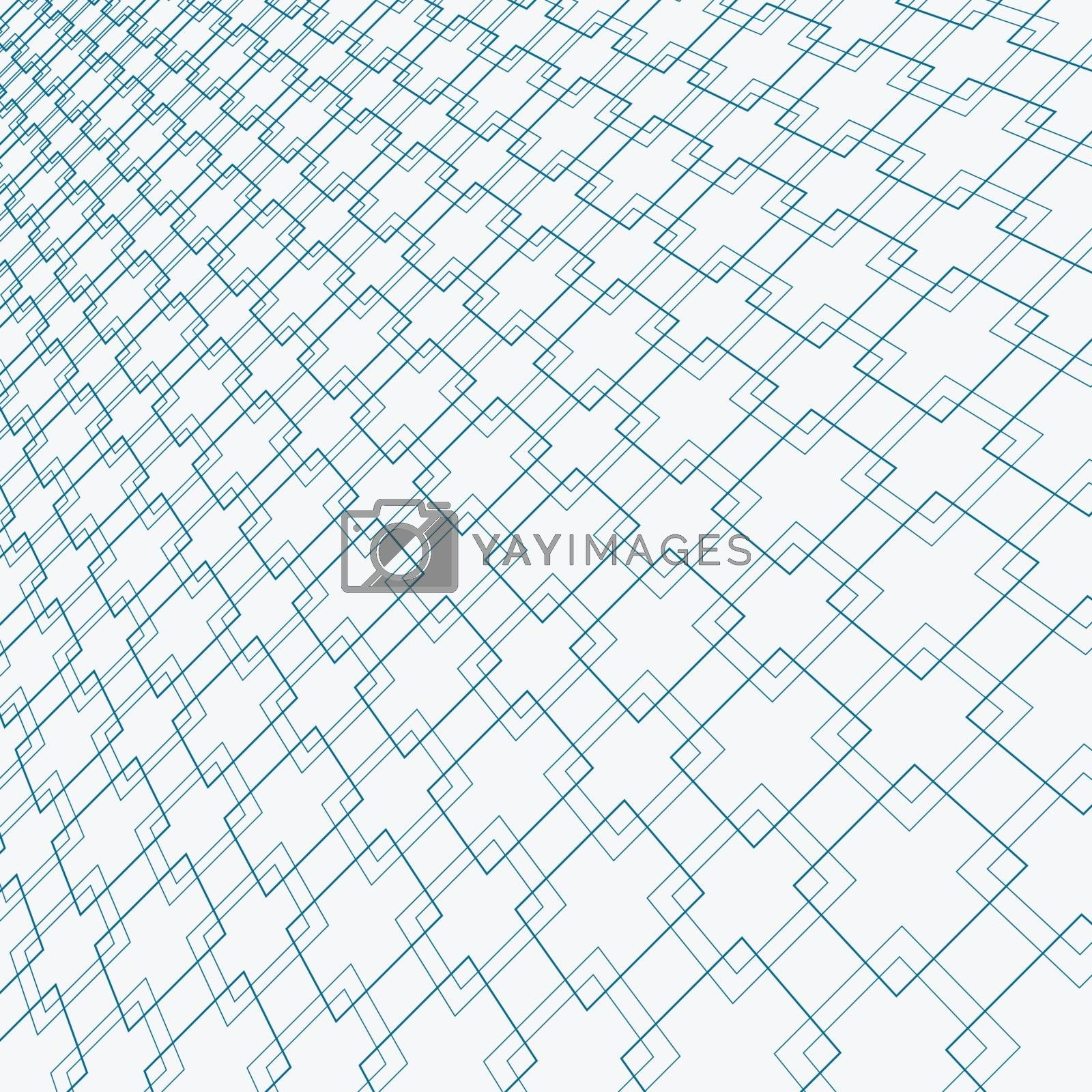 Abstract blue lines squares pattern overlapping perspective on white background. Vector illustration