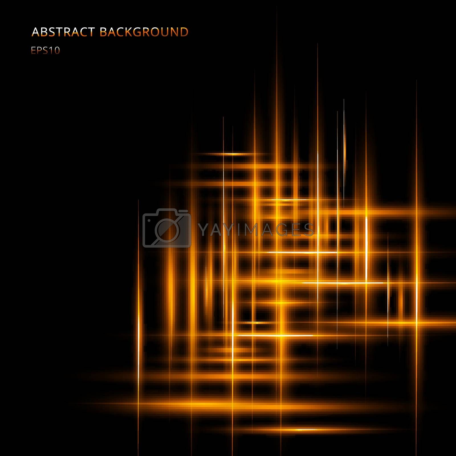 Abstract yellow or orange light line glowing neon motion on black background with space your text. Laser beams of lighting motion. Vector illustration