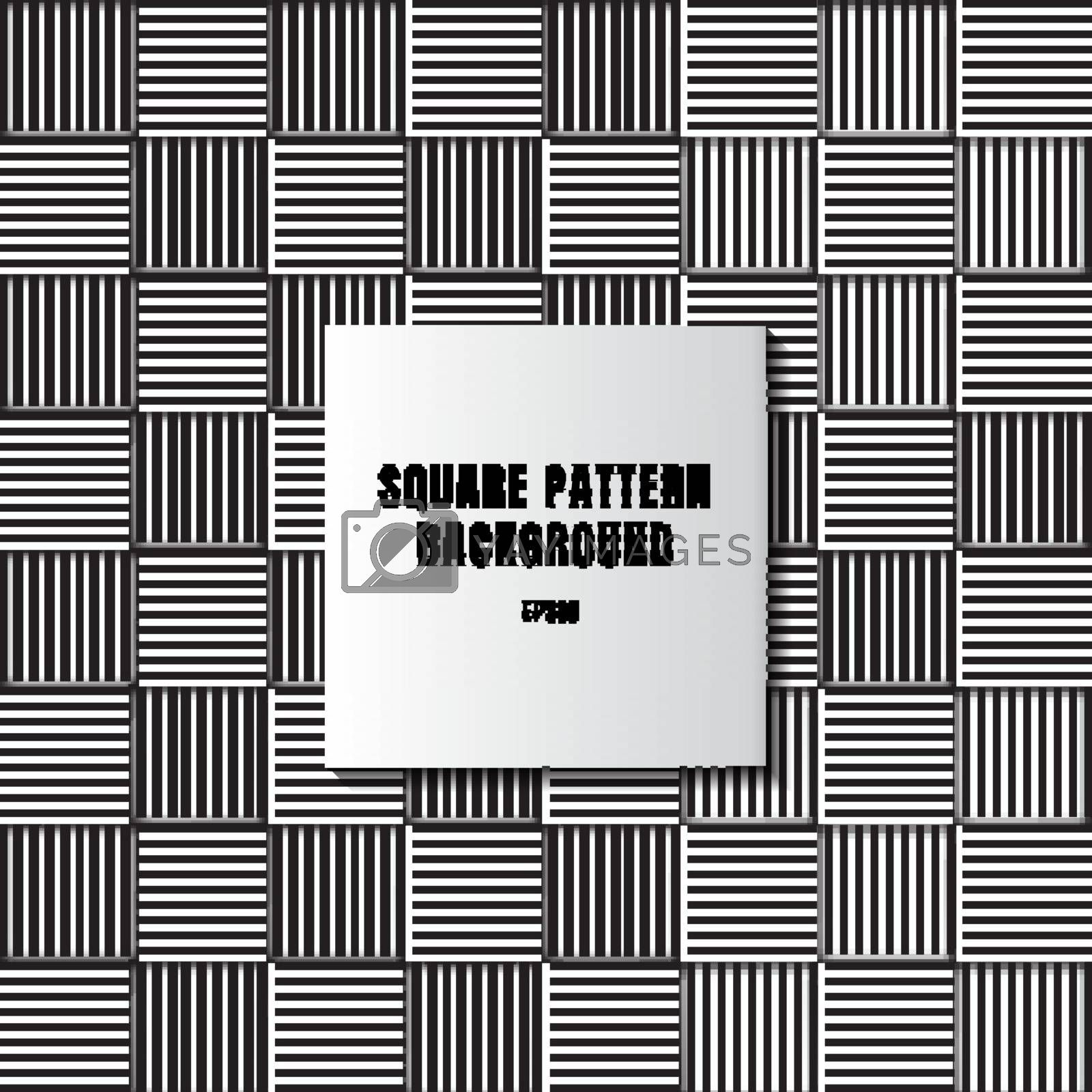Abstract black and white mosaic of squares with vertical and horizontal lines pattern lattice background and texture. Vector illustration