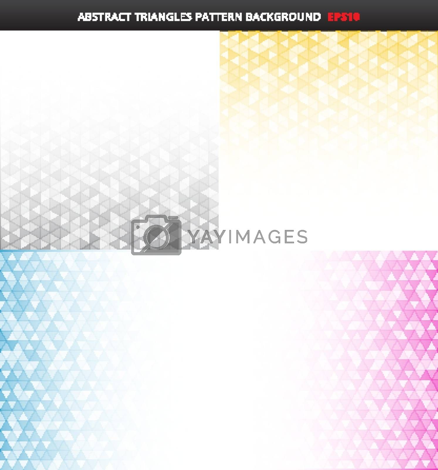 Set of abstract striped gray, yellow, blue, pink color geometric triangles pattern on white background and texture with copy space. Vector illustration