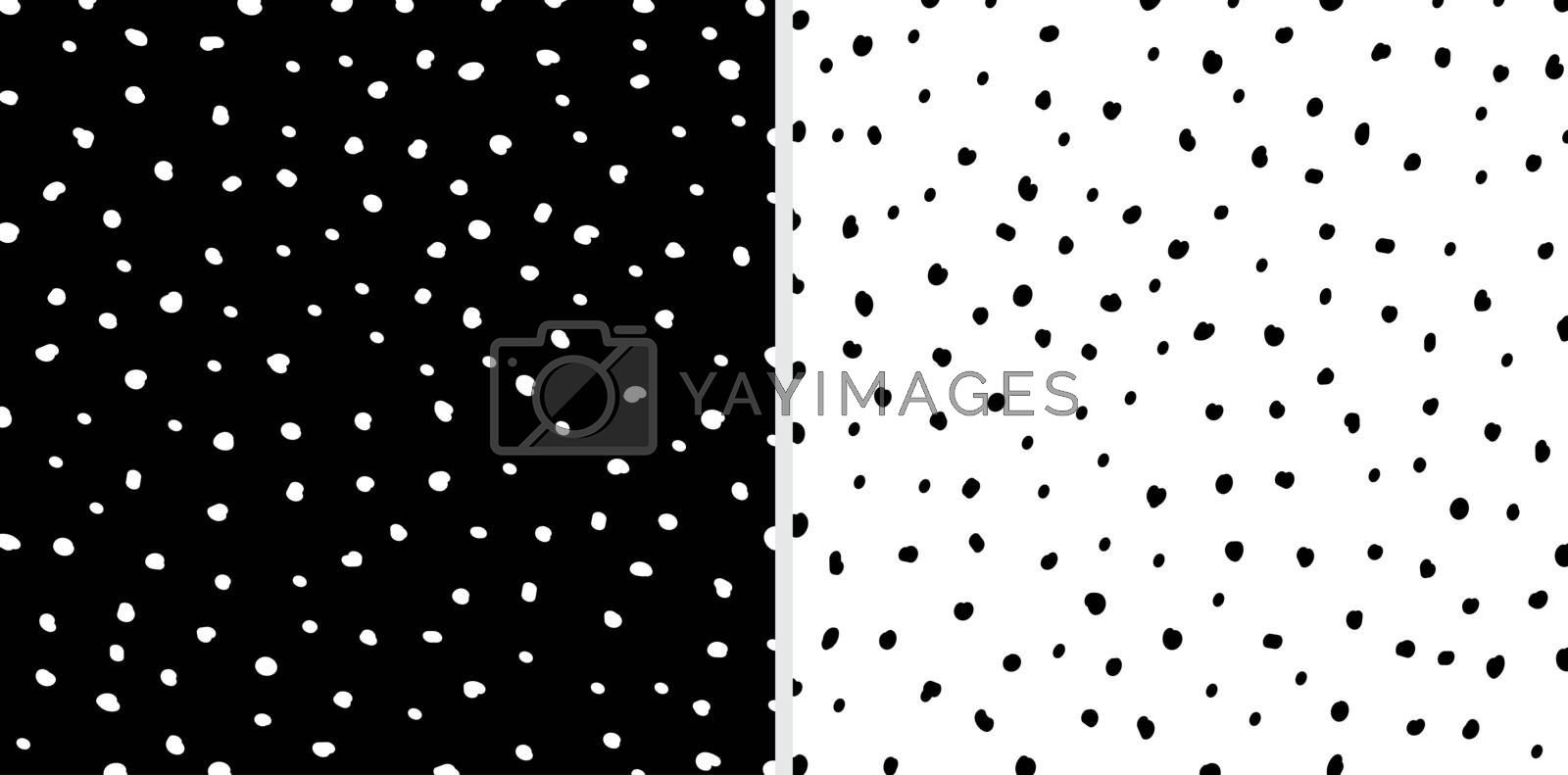 Set of Irregular black and white dots pattern background. Sketch by phochi