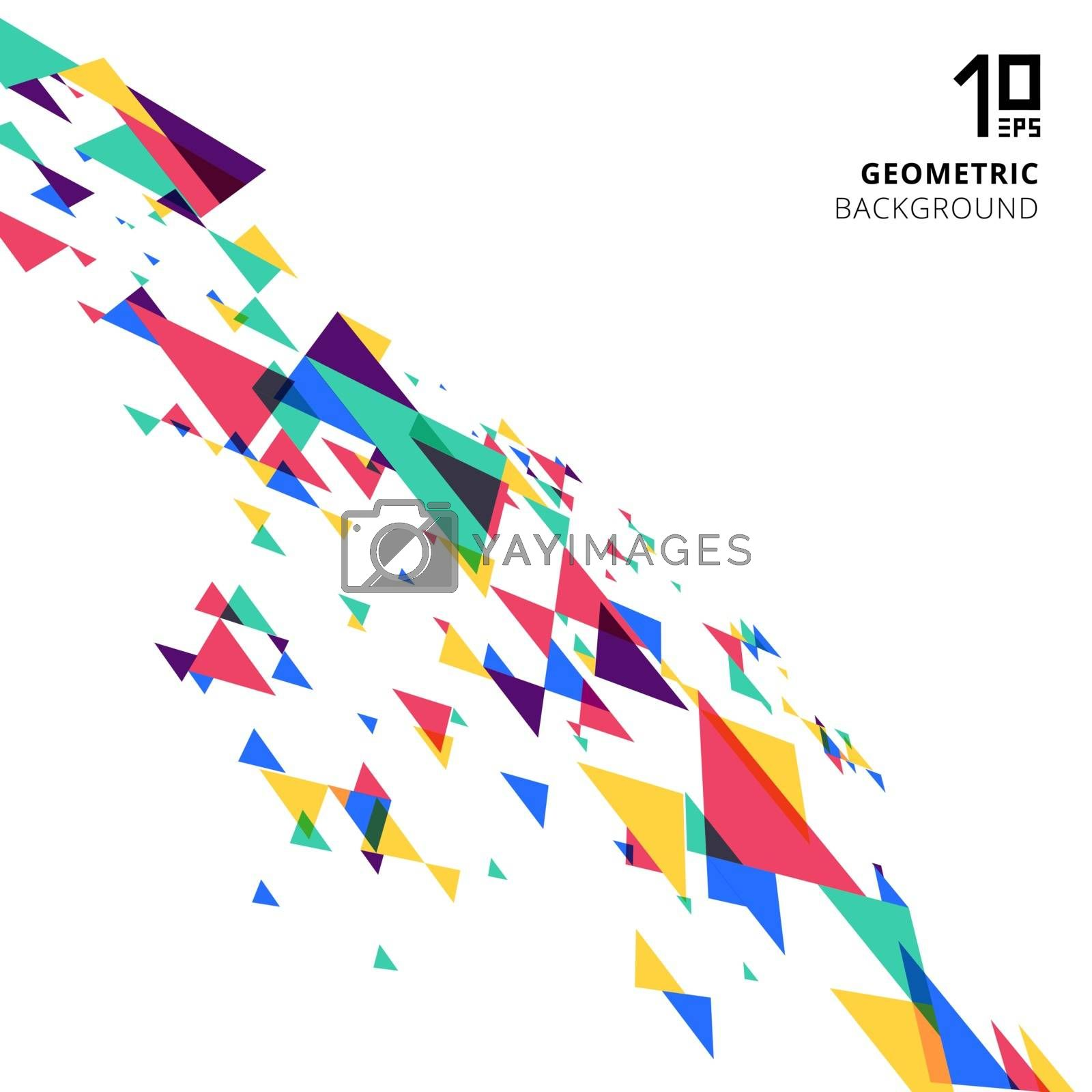 Abstract element colorful and creative modern geometric overlapping triangles perspective on white background. Vector illustration