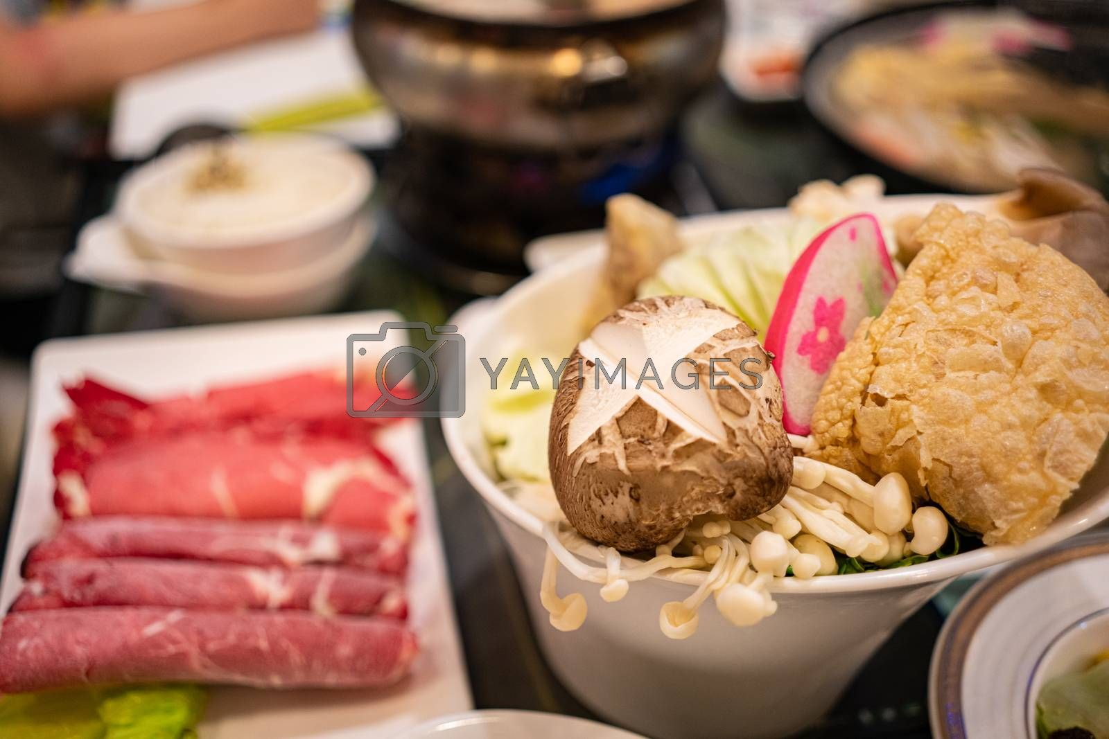 Royalty free image of Fresh Ingredients for Taiwanese Styled Hot Pot by kstphotography