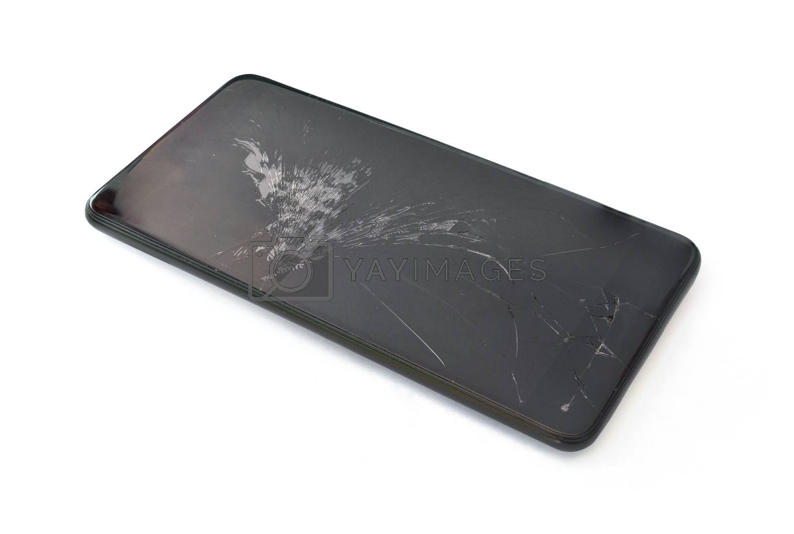Broken screen phone on white background.(with Clipping Path).