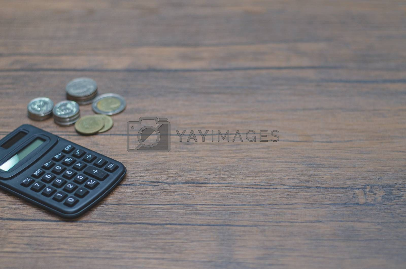 Black calculator on table.Copy space.