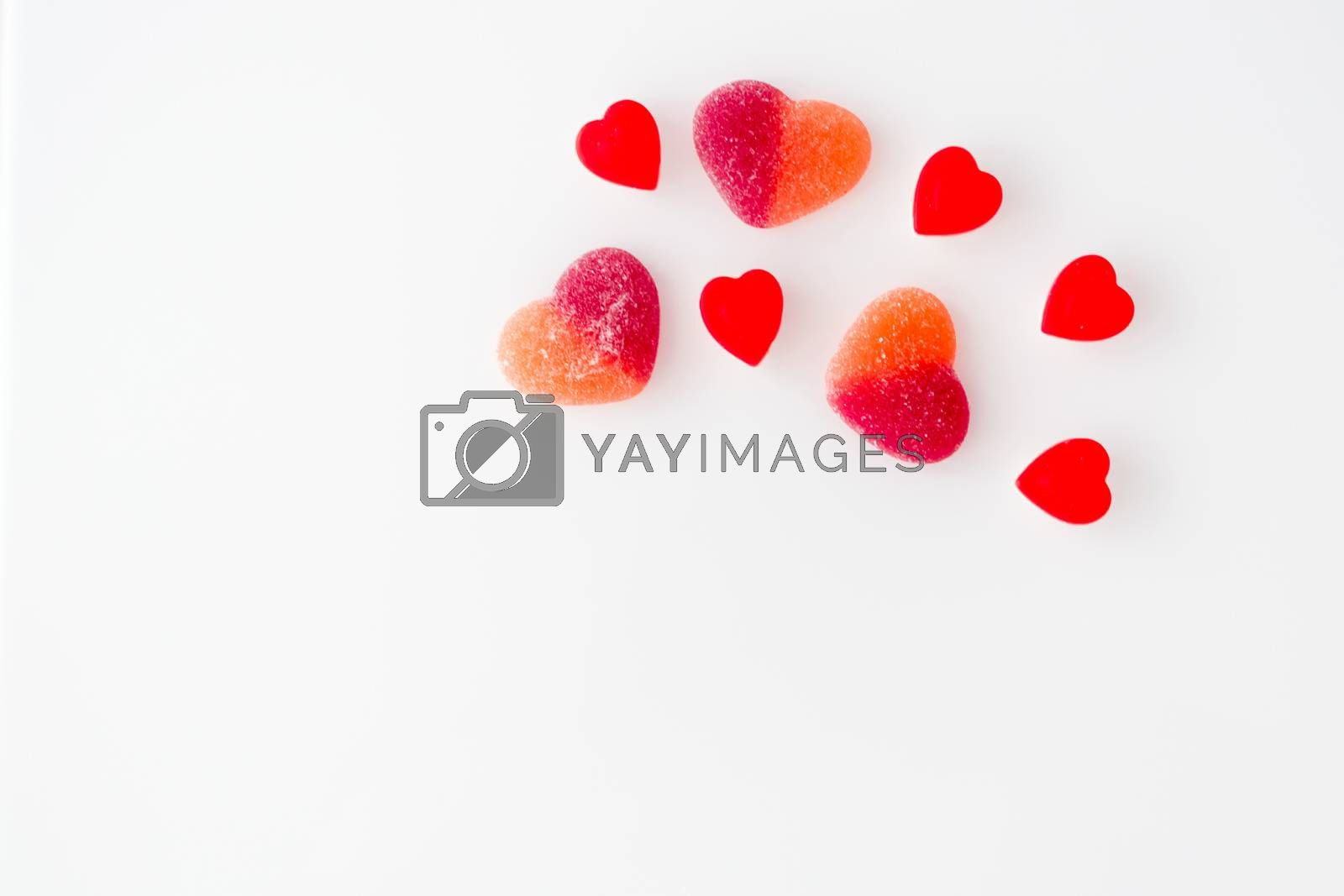 candy from marmalade in the form of red hearts