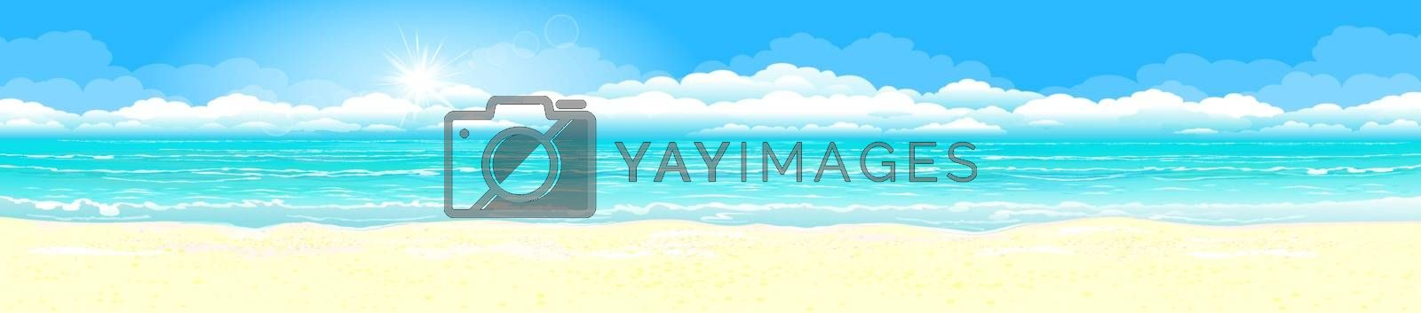 Panorama of a tropical sandy beach. Ocean coast. Landscape of the tropical coast. Sea shore landscape. Ocean, sky, sun and sand.