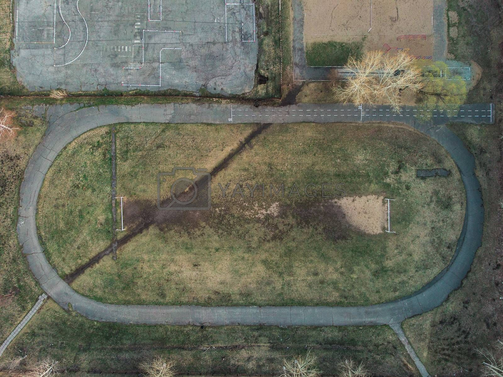 Old Football field in a beauty day. Aerial view.