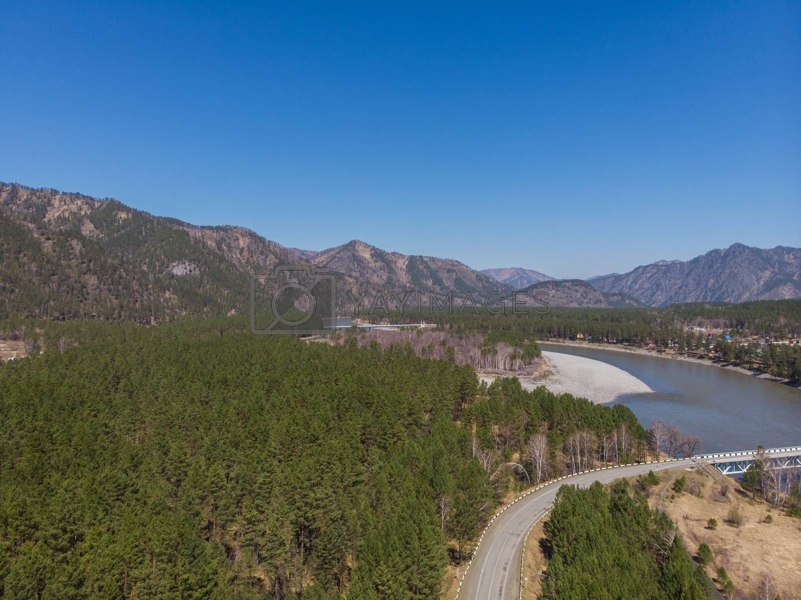 Aerial view of a road in summer landscape, in Altai mountains,