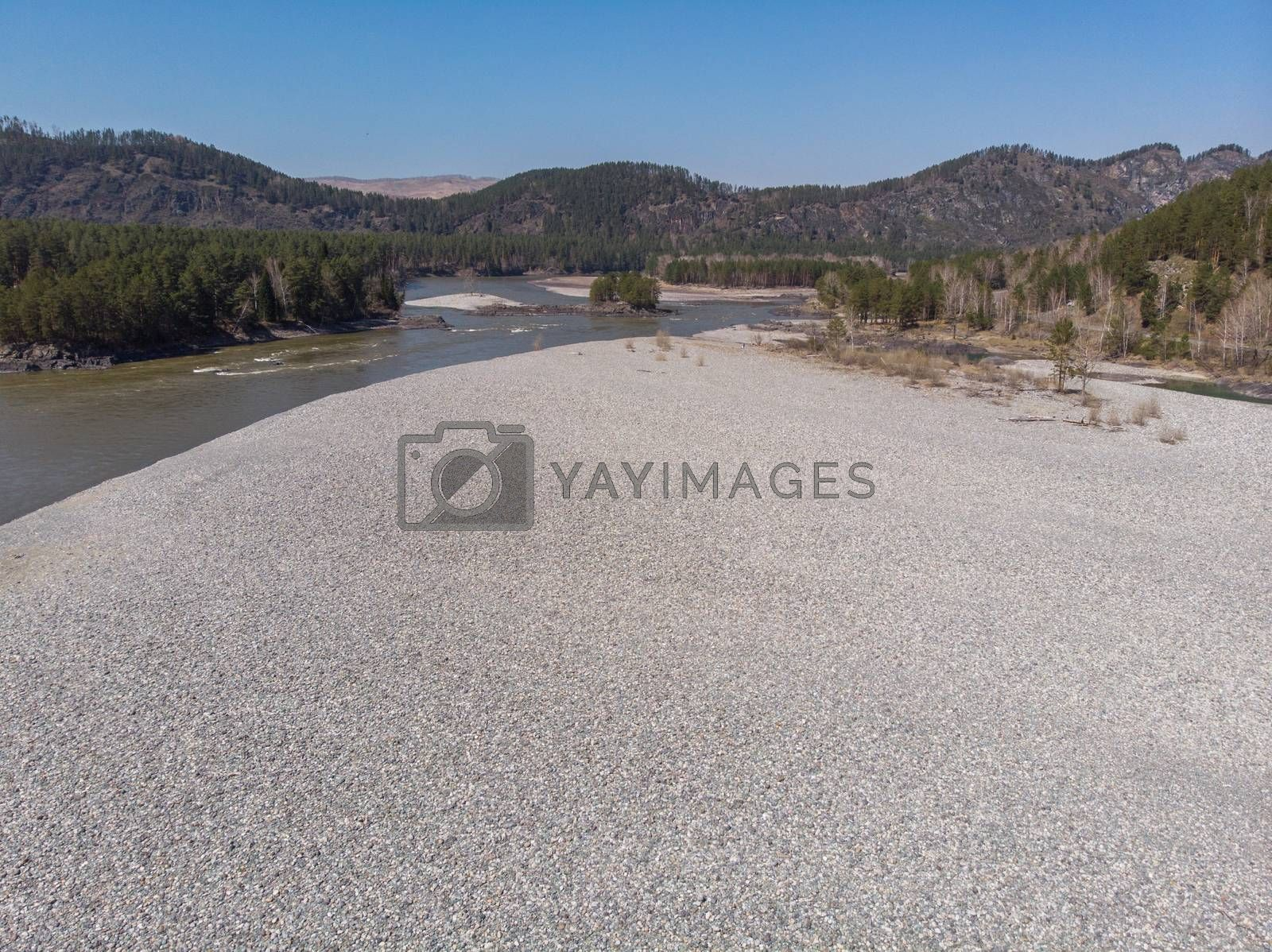 Aerial view of Katun river, in Altai mountains,