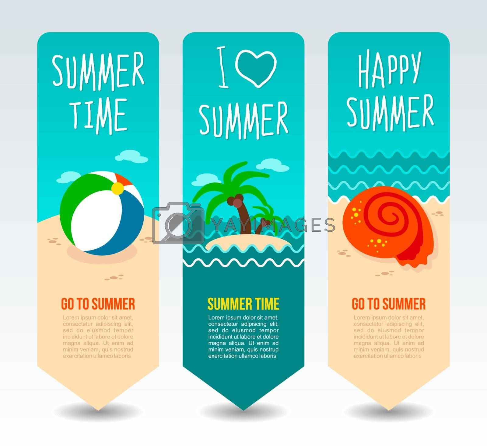 Beach ball, palm tree tropical island and seashell. Summer Travel and vacation vector banners. Summertime. Holiday