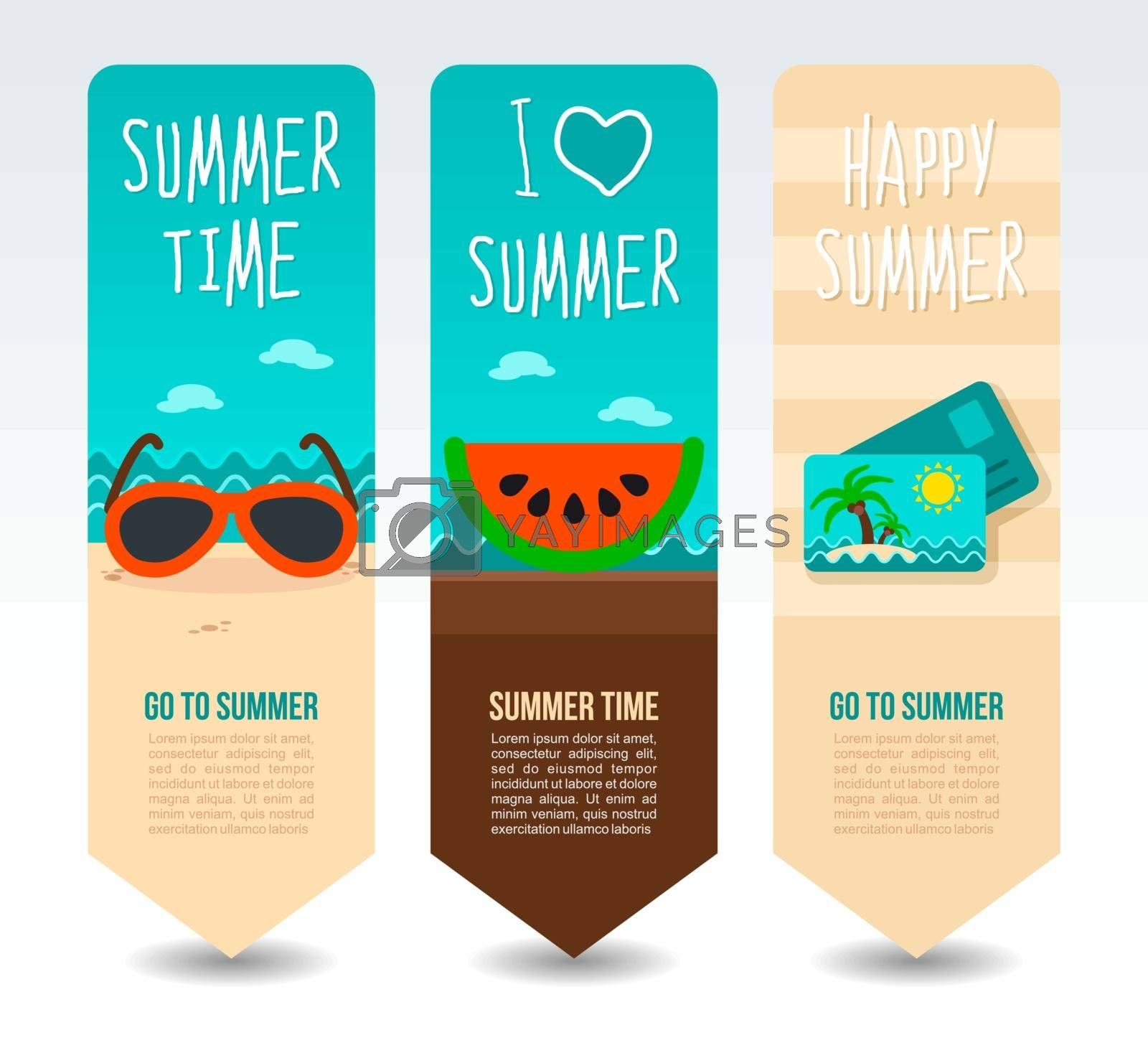 Slice watermelon, sunglasses and post card palm. Summer Travel and vacation vector banners. Summertime. Holiday