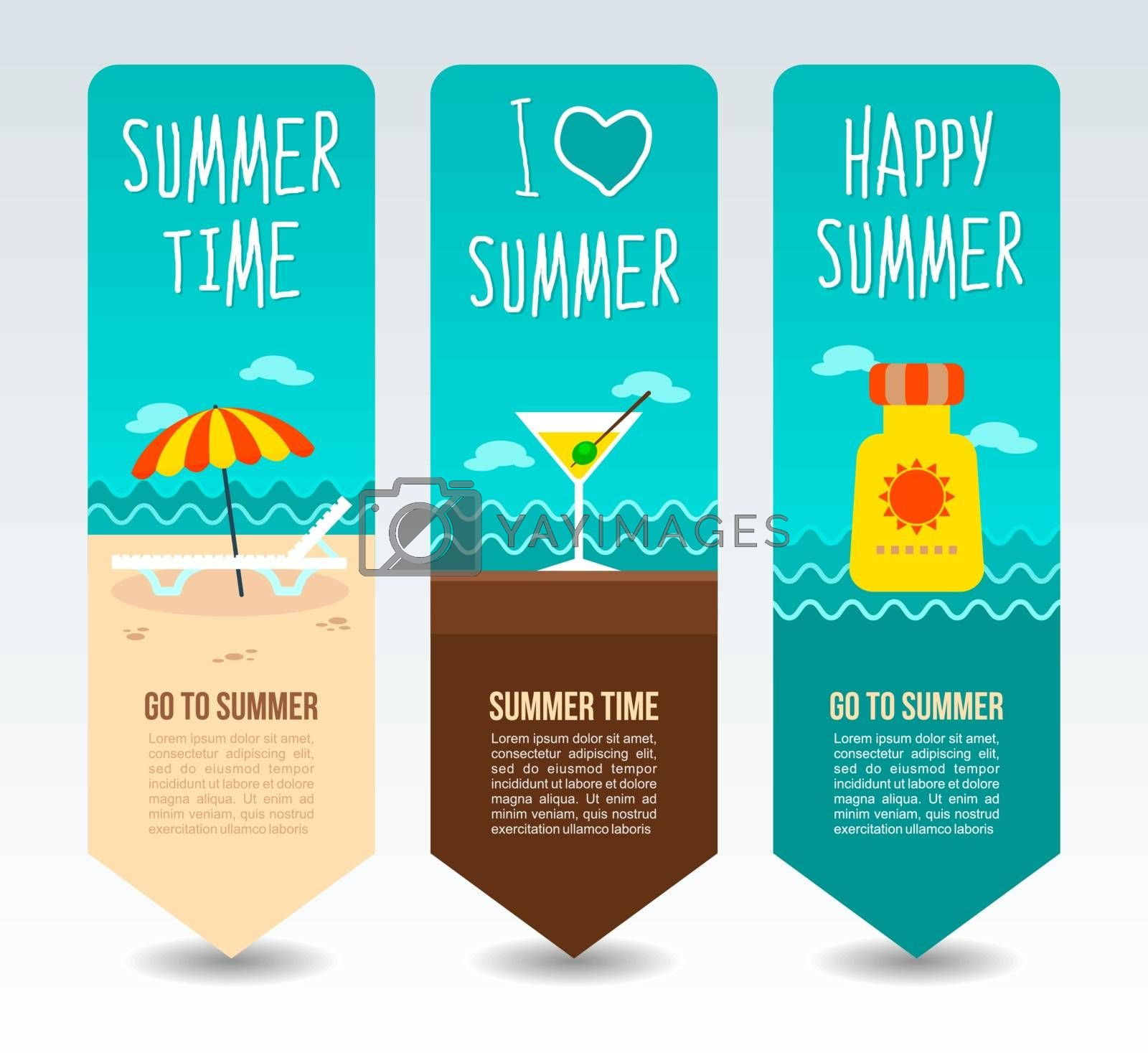 Lounge chaise and umbrella, cocktail martini and sunscreen. Summer Travel and vacation vector banners. Summertime. Holiday