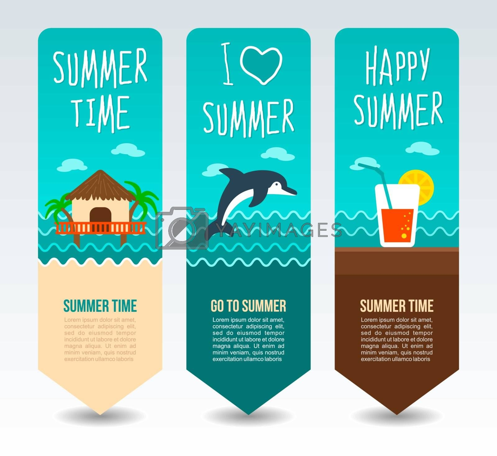 Tropical bungalow, beach cocktail and dolphin. Summer Travel and vacation vector banners. Summertime. Holiday