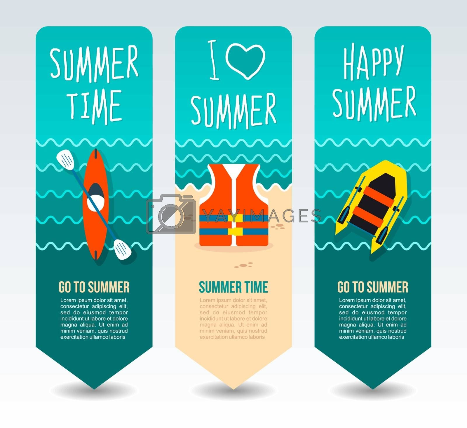 Life jacket, inflatable boat and kayak. Summer Travel and vacation vector banners. Summertime. Holiday