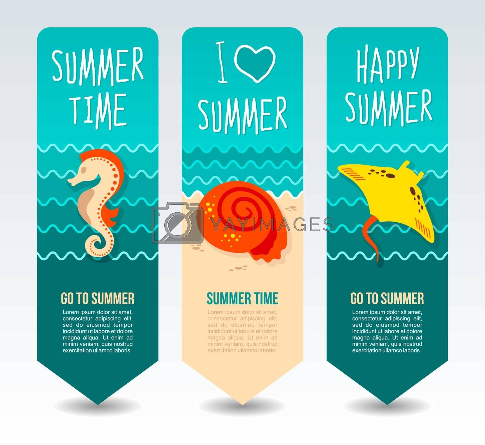 Seahorse, seashell and ramp. Summer Travel and vacation vector banners. Summertime. Holiday