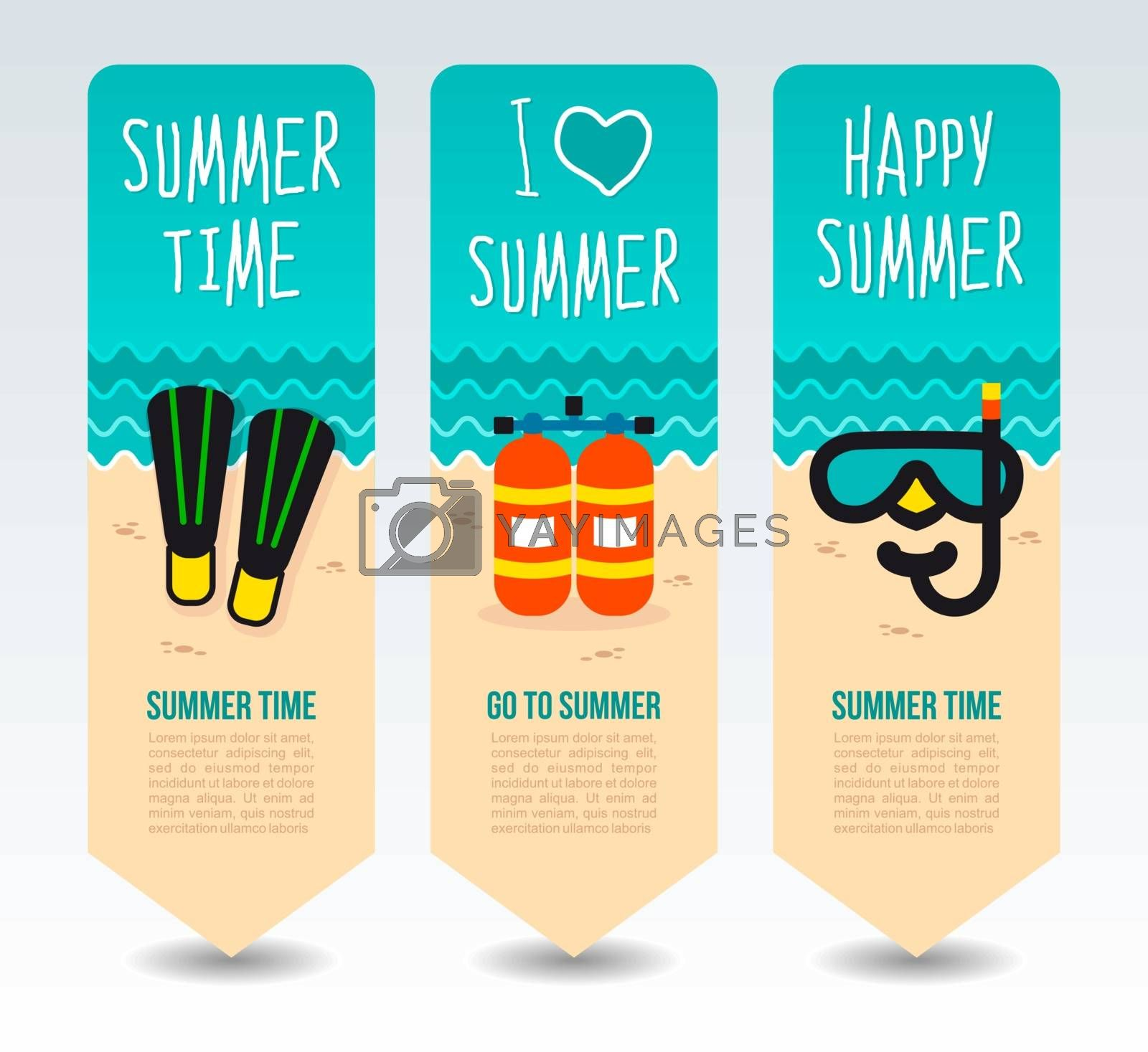 Oxygen tank, diving flipper and mask. Summer Travel and vacation vector banners. Summertime. Holiday