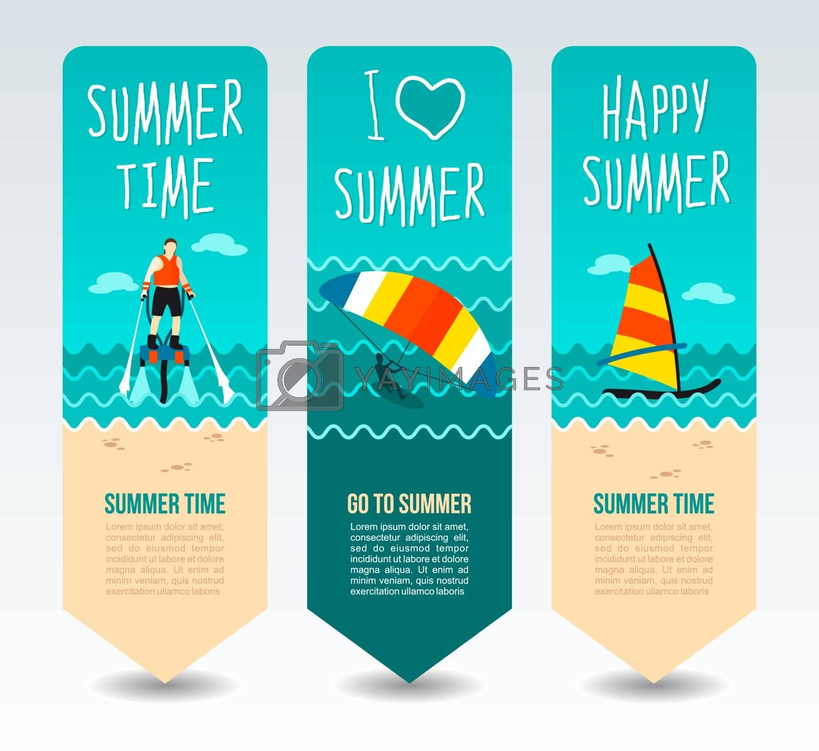 Flyboard, kiteboarding and windsurf. Summer Travel and vacation vector banners. Summertime. Holiday