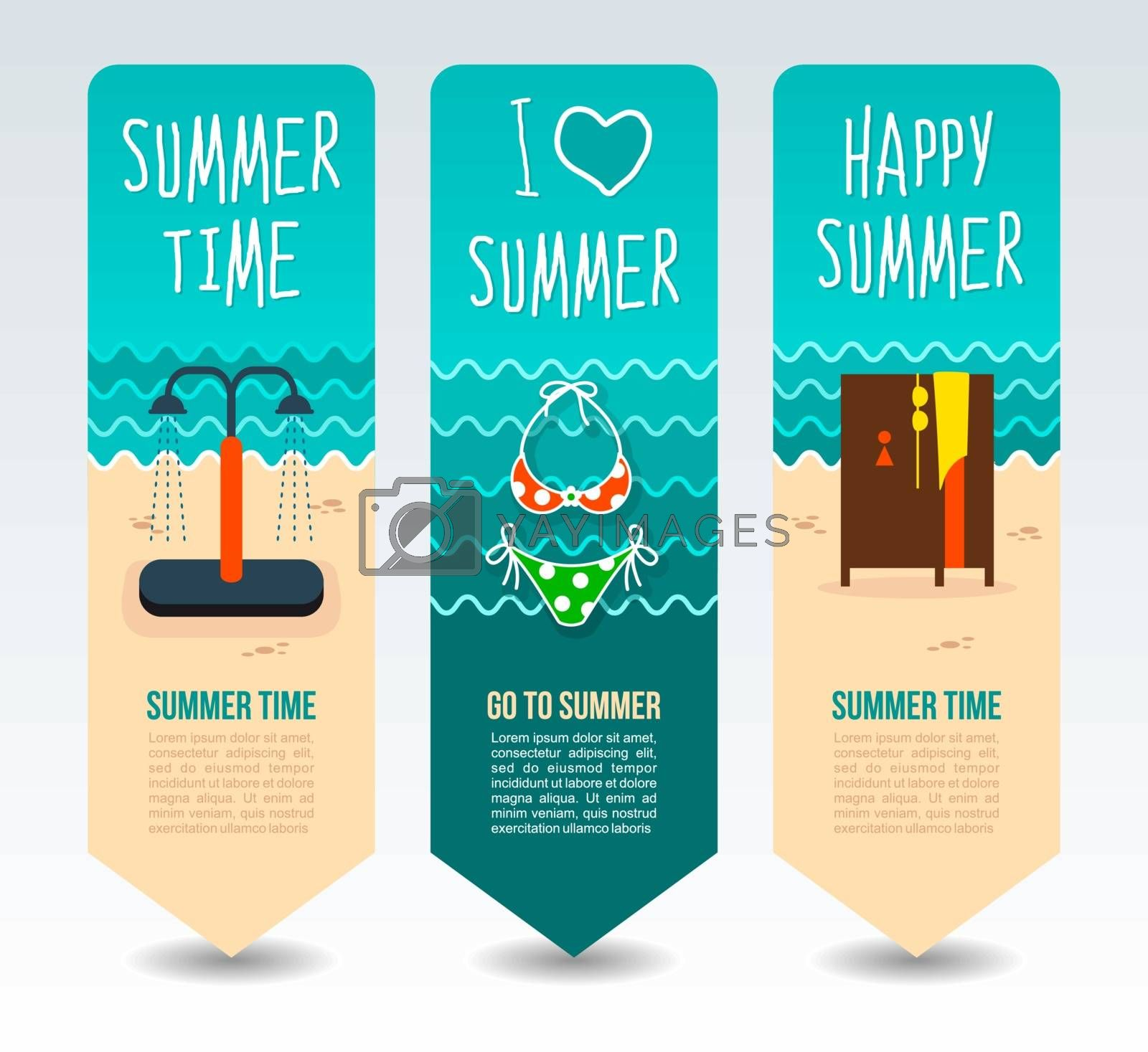 Swimsuit, beach shower cabin and cloakroom. Summer Travel and vacation vector banners. Summertime. Holiday
